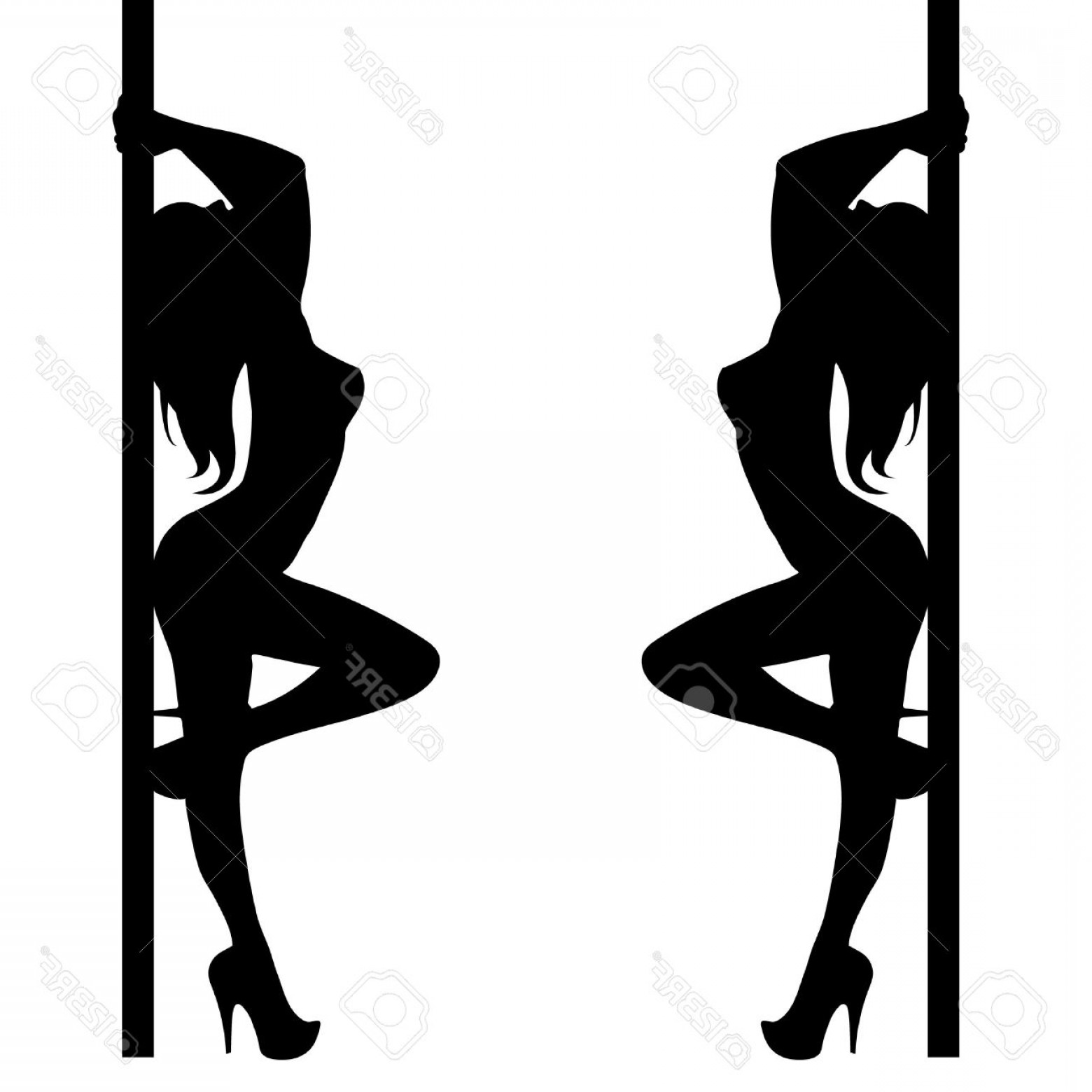 Vector Pole: Photostock Vector Pole Girl Illustration Dancer Strip Vector Stripper Silhouette Sexy Club