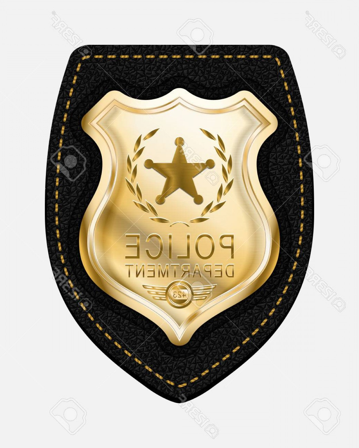 Law Enforcement Badges Vector: Photostock Vector Police Badge Realistic Vector Golden Police Badge Placed On Leather Background