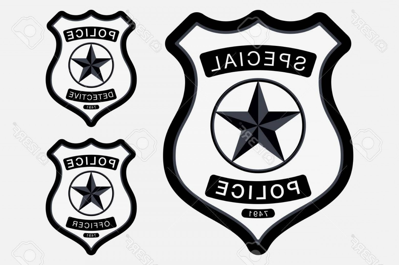 Law Enforcement Badges Vector: Photostock Vector Police Badge Simple Monochrome Sign Vector Illustration Isolated On White Background