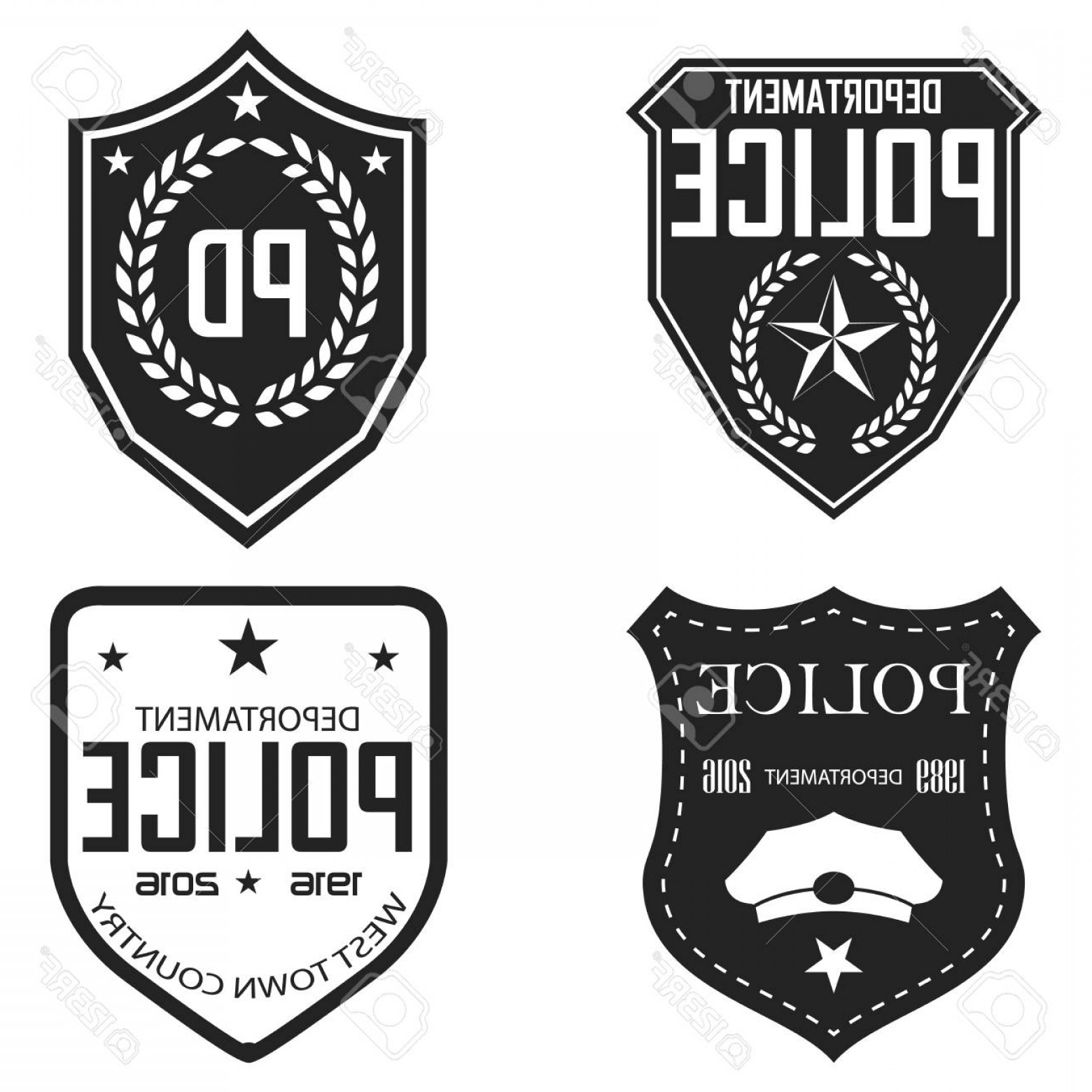 Law Enforcement Badges Vector: Photostock Vector Police Badges And Emblems Monochrome Vector Illustration Retro Style