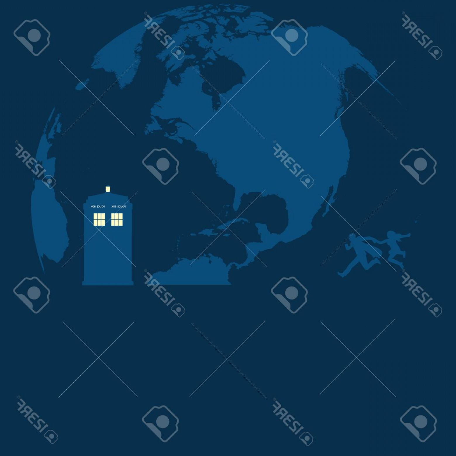 Vector Police Box: Photostock Vector Police Box On The Moon With Running People Vector