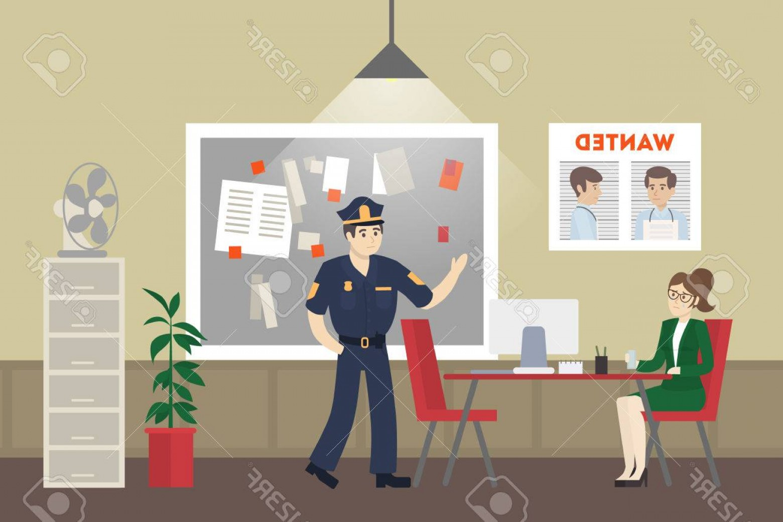Vector Police Department: Photostock Vector Police Office Room Investigation With Detective And Witness