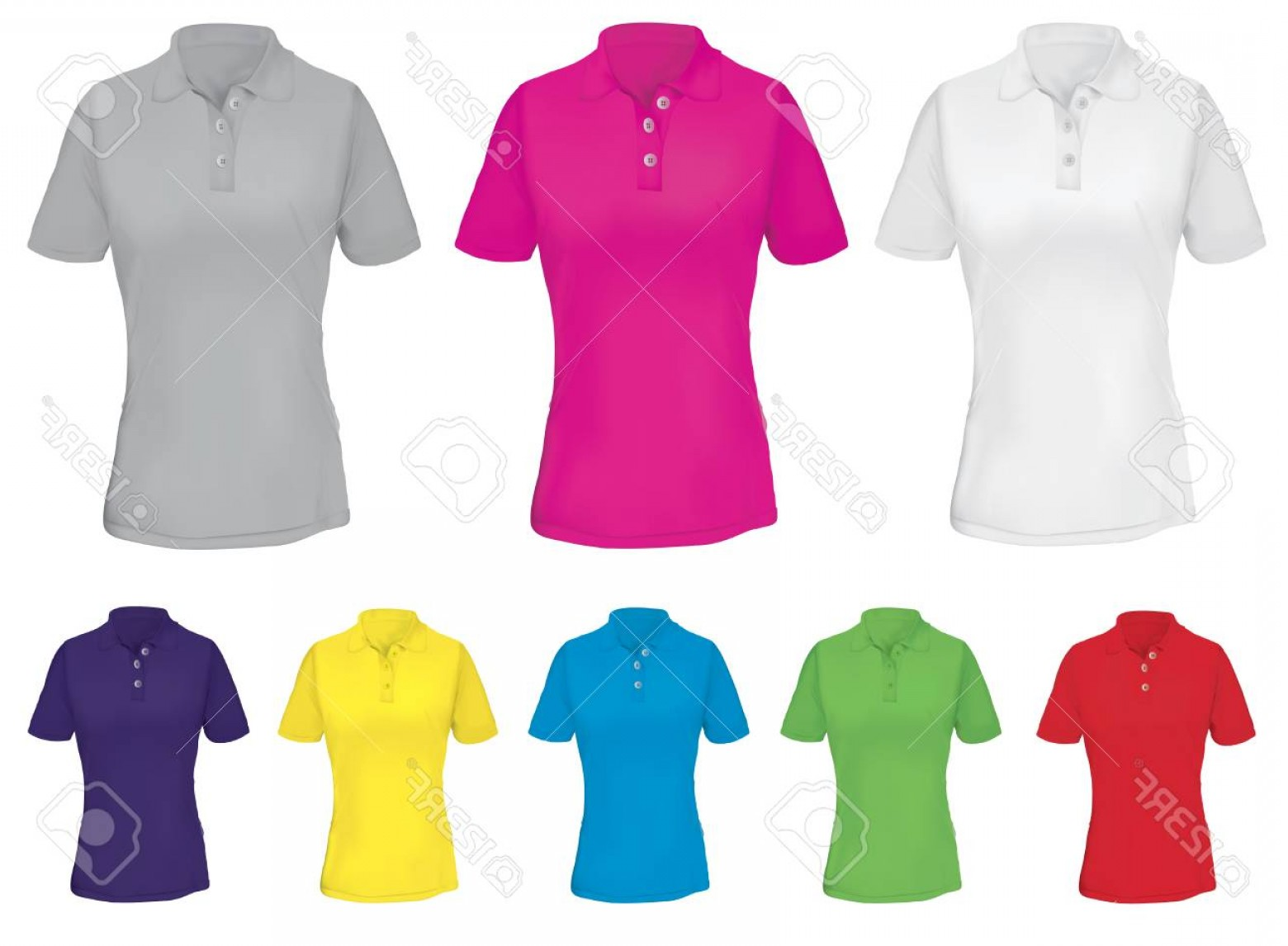 Female Polo Shirt Vector Template: Photostock Vector Polo Shirt Template For Woman In Many Colors