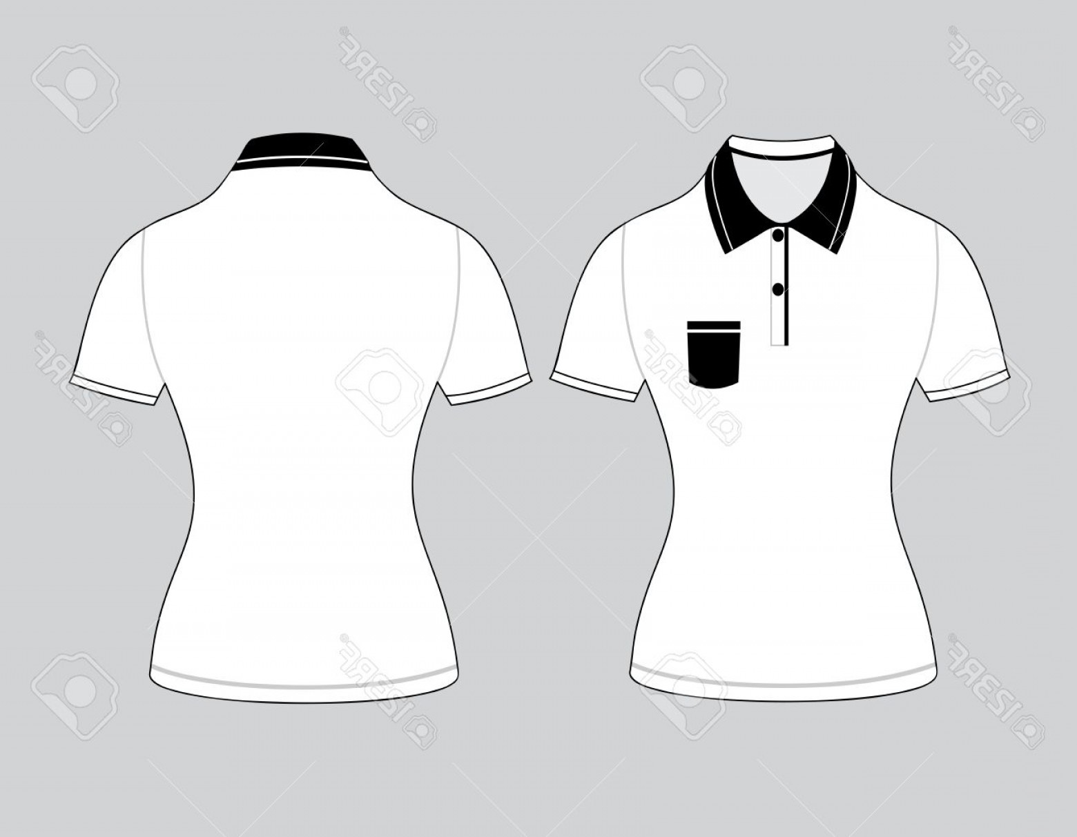 Female Polo Shirt Vector Template: Photostock Vector Polo Woman Shirt Design Templates Front And Back Views Vector Illustration