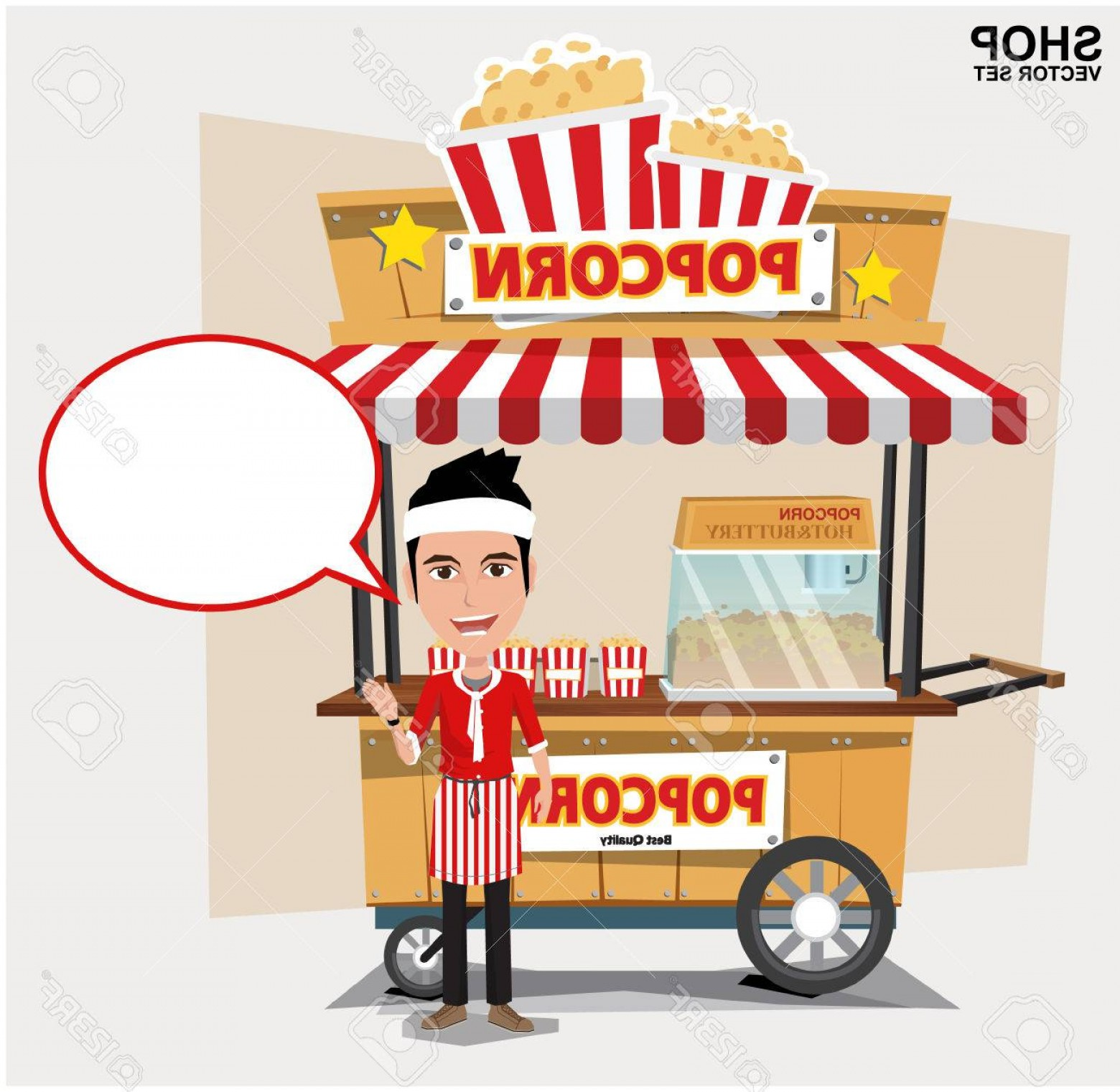 Candy Seller Vector: Photostock Vector Popcorn Cart With Seller Vector Illustration