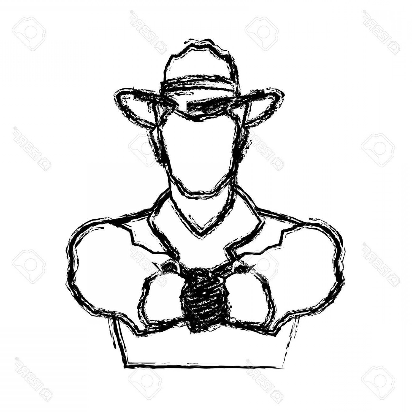 Cowboys Line Drawings Vector: Photostock Vector Portrait Man In Cowboy Hat Sketch Vector Illustration