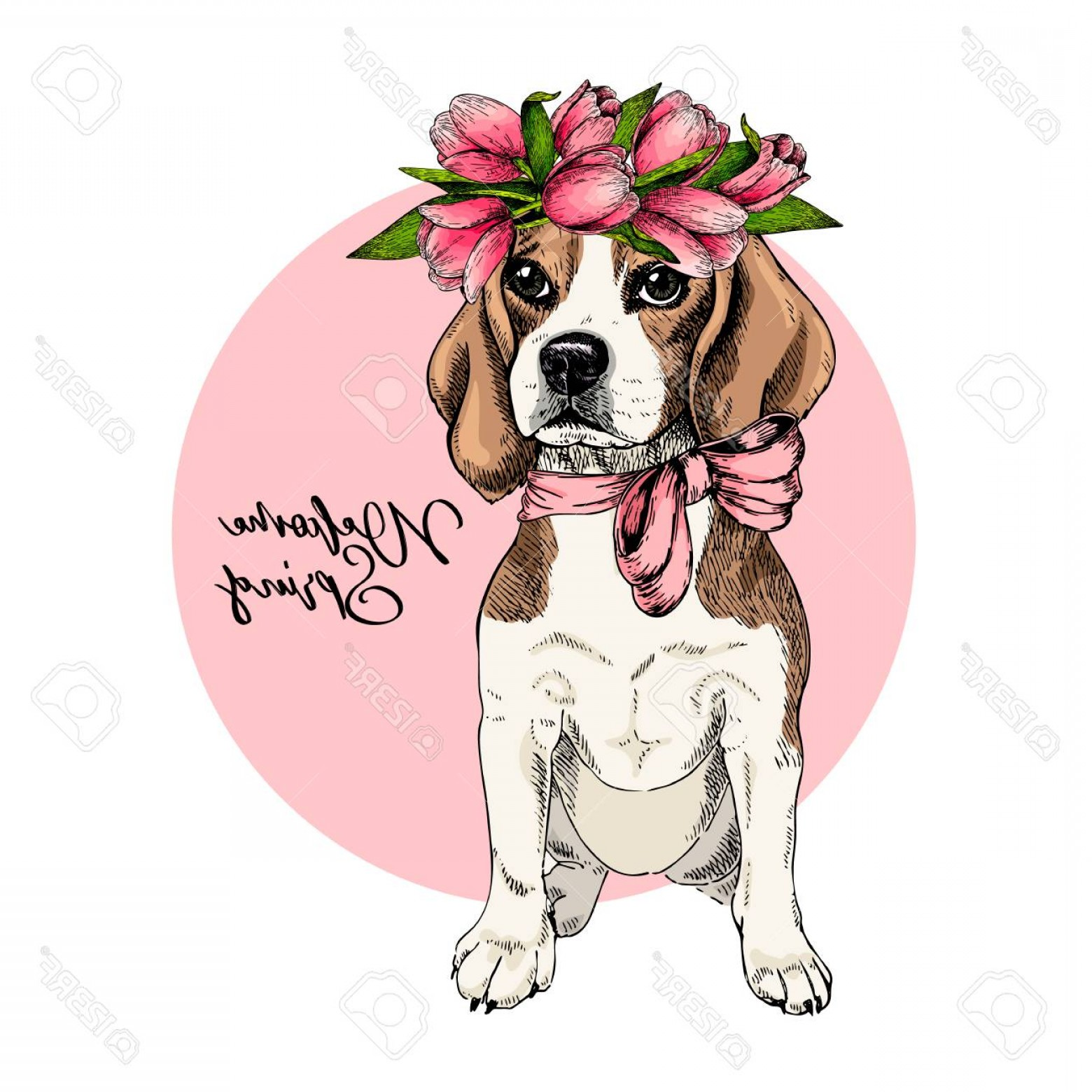 Vector Art Beagle Dog: Photostock Vector Portrait Of Beagle Dog Wearing Tulip Crown Welcome Spring Hand Drawn Colored Vector Illustration Eng