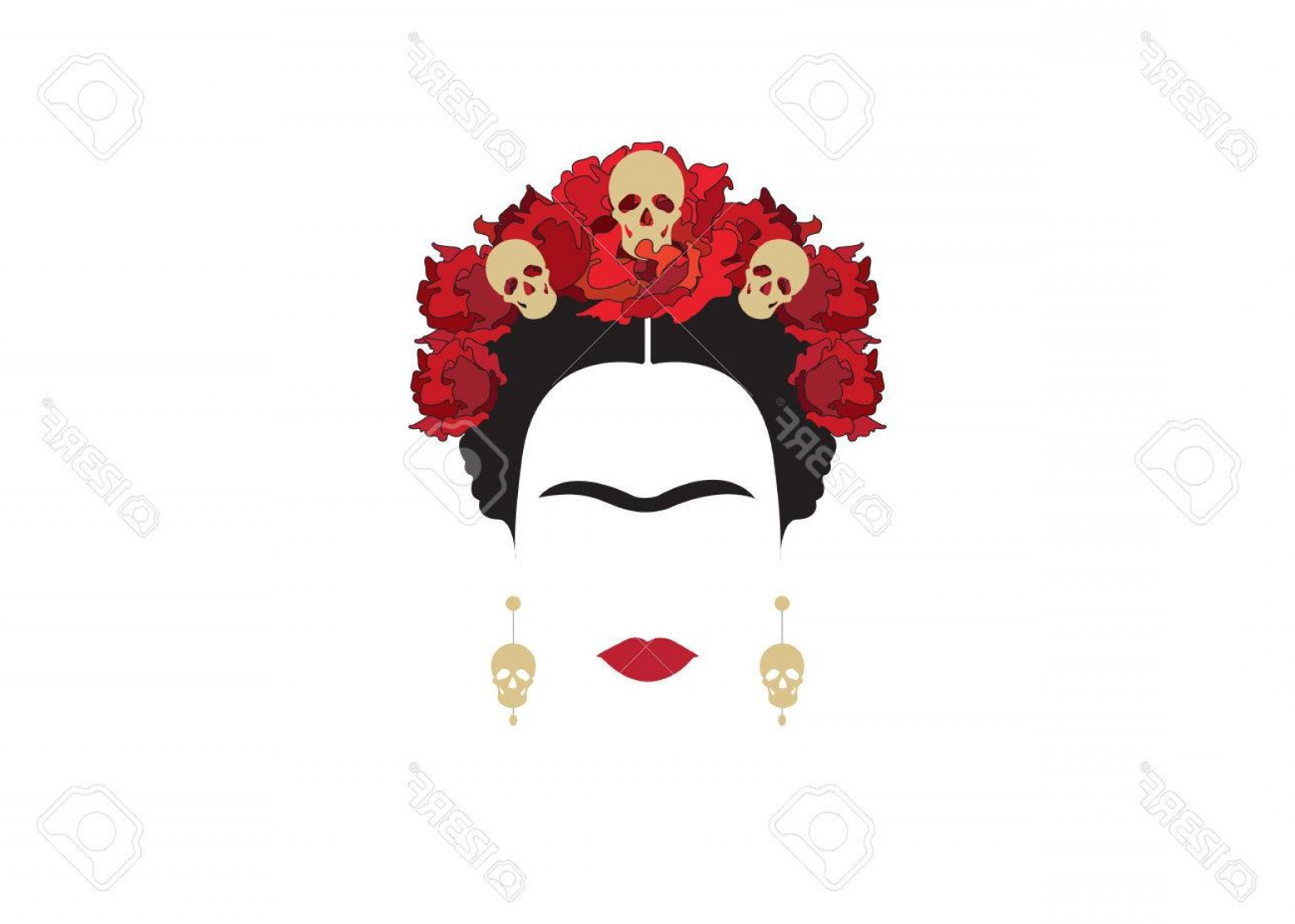 Frida Black And White Vector: Photostock Vector Portrait Of Modern Mexican Woman With Skulls And Red Flower Inspiration Santa Muerte In Mexico And F