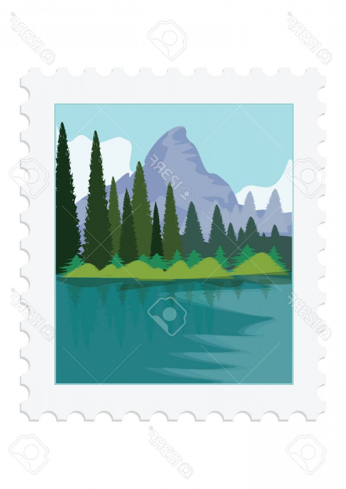 River Vector Art: Photostock Vector Postage Stamp Nature Mountains River Forest Isolated On White Background Vector Art Illustration