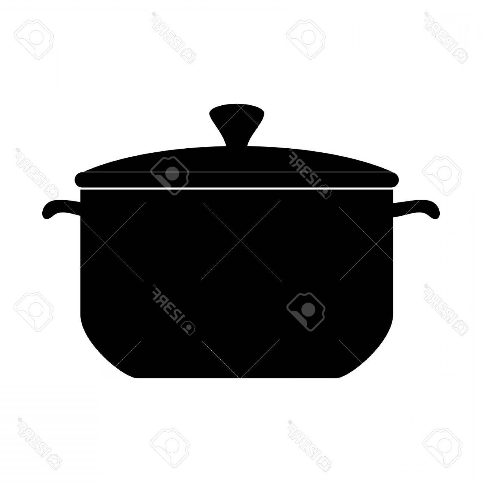Big Cook With Cooking Pot Vector: Photostock Vector Pot Cooking Pan Kitchen Cook Silhouette Cap Utensil Vector Isolated Illustration