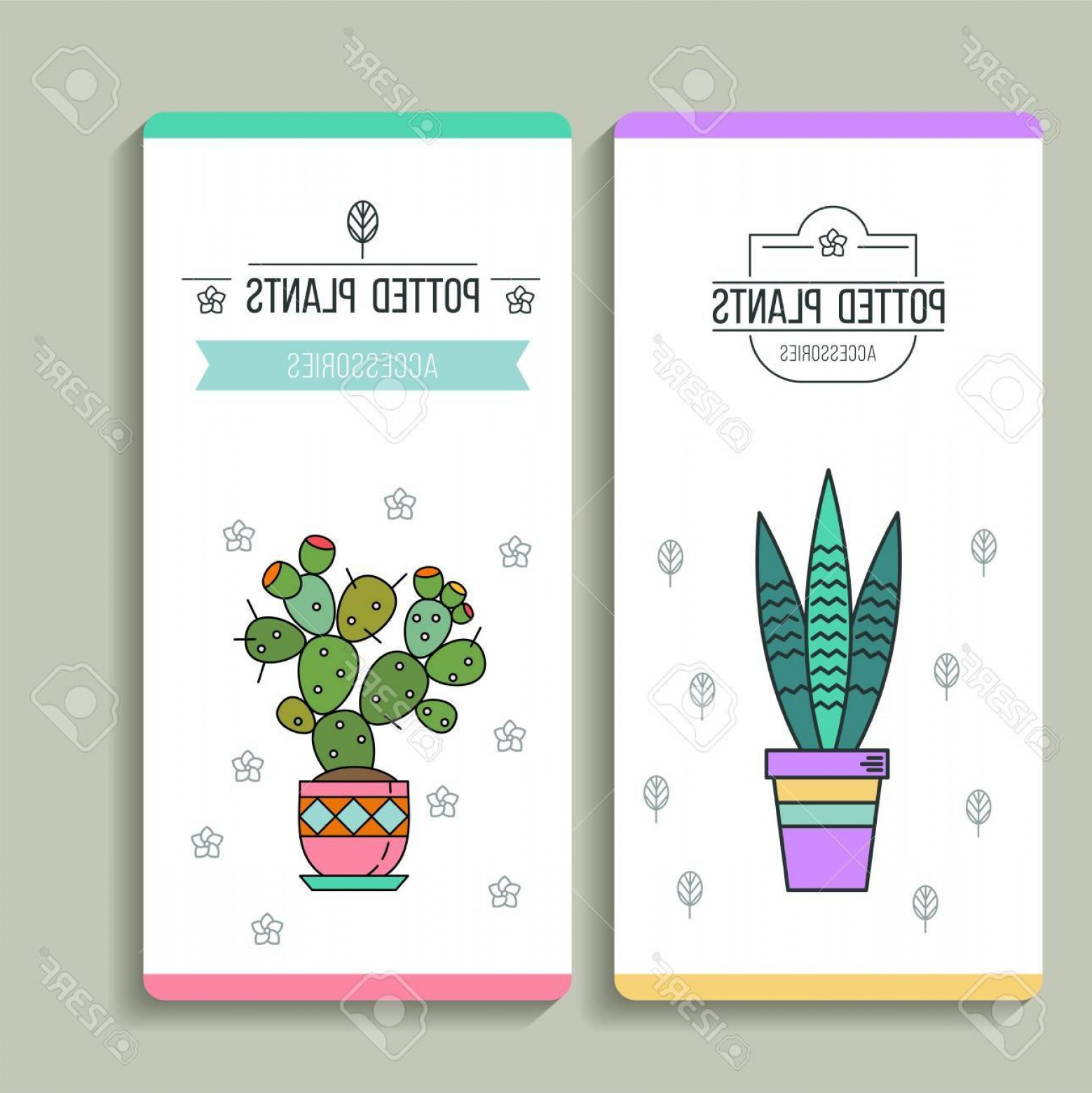 Plant Cards Vector: Photostock Vector Potted Plants Business Cards Flower Shop Vector Illustration Isolated On White Background