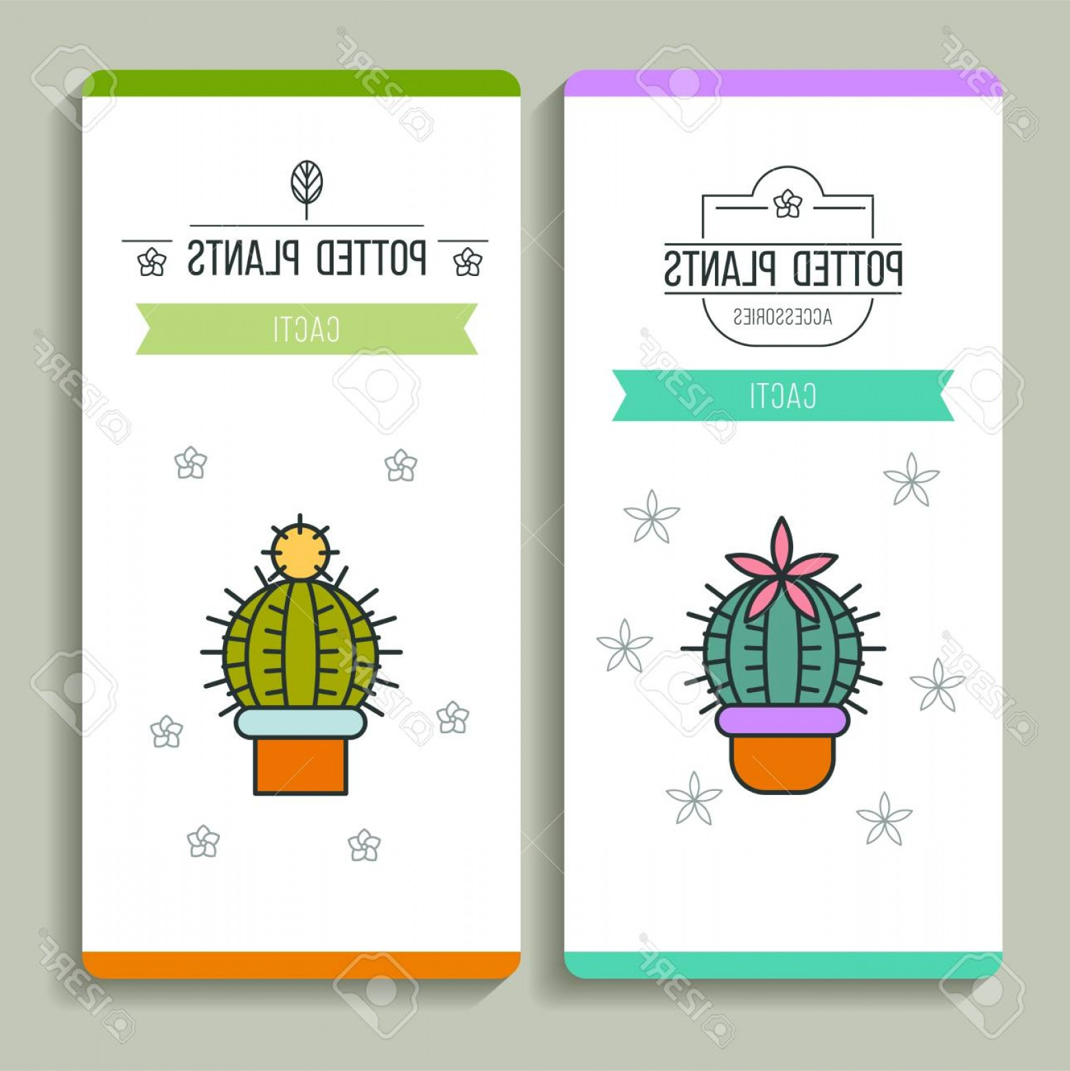 Plant Cards Vector: Photostock Vector Potted Plants Business Cards Vector Illustration Flower Shop Isolated On White Background
