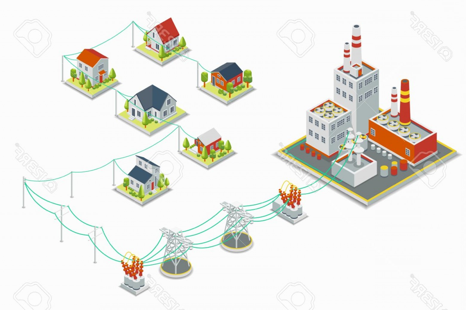 Vector Power Plant Utility: Photostock Vector Powerhouse And Electric Energy Distribution Vector Infographic D Isometric Concept Electricity Indu