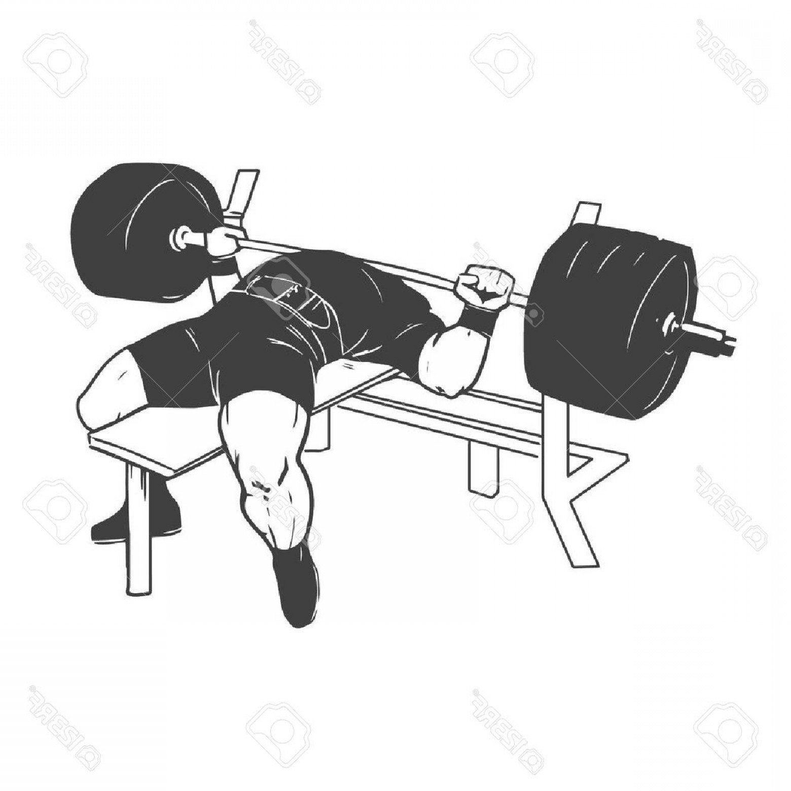 Vector Barbell Press: Photostock Vector Powerlifting Bench Press Figure On Isolated White Background