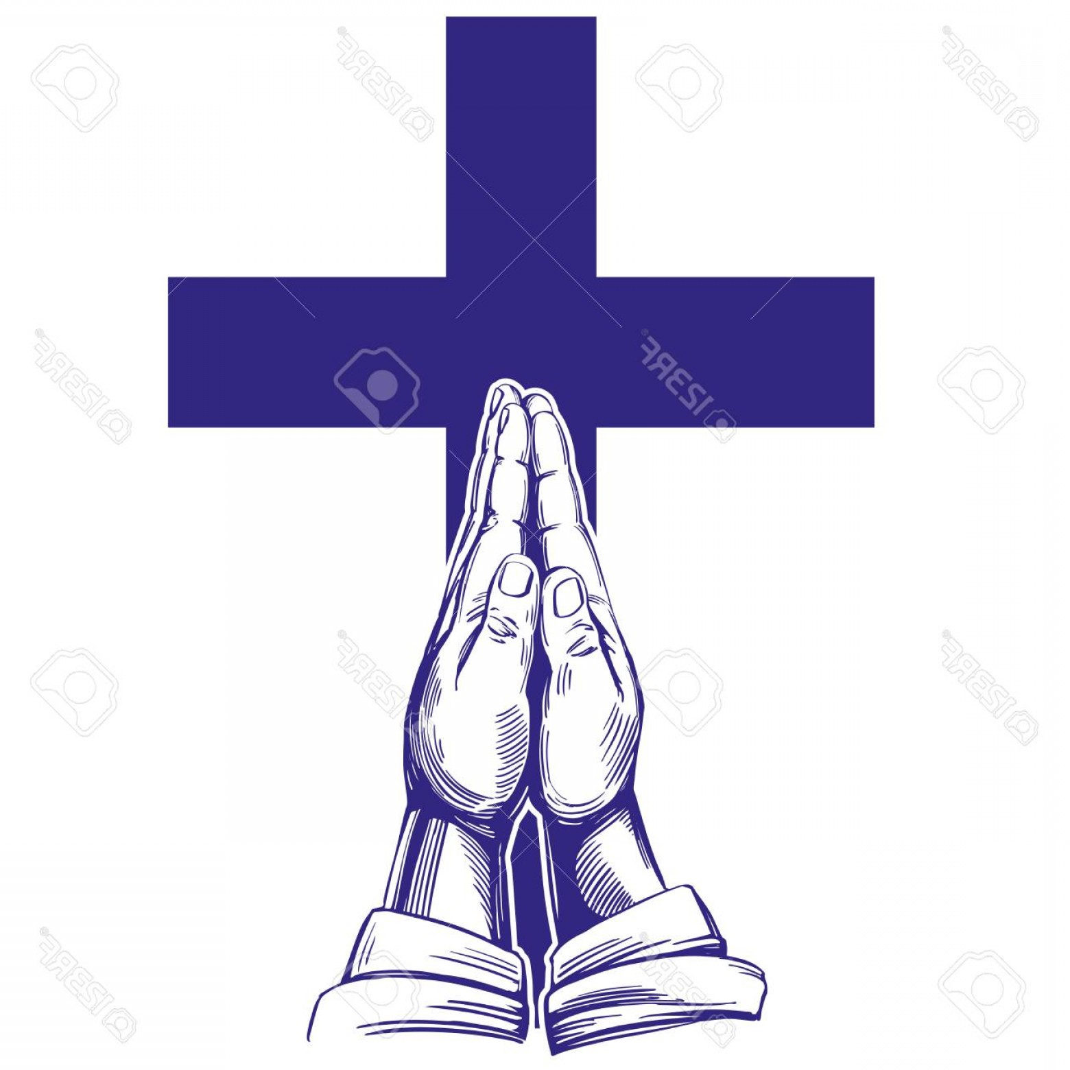 Praying Cowboy Vector: Photostock Vector Praying Hands Illustration