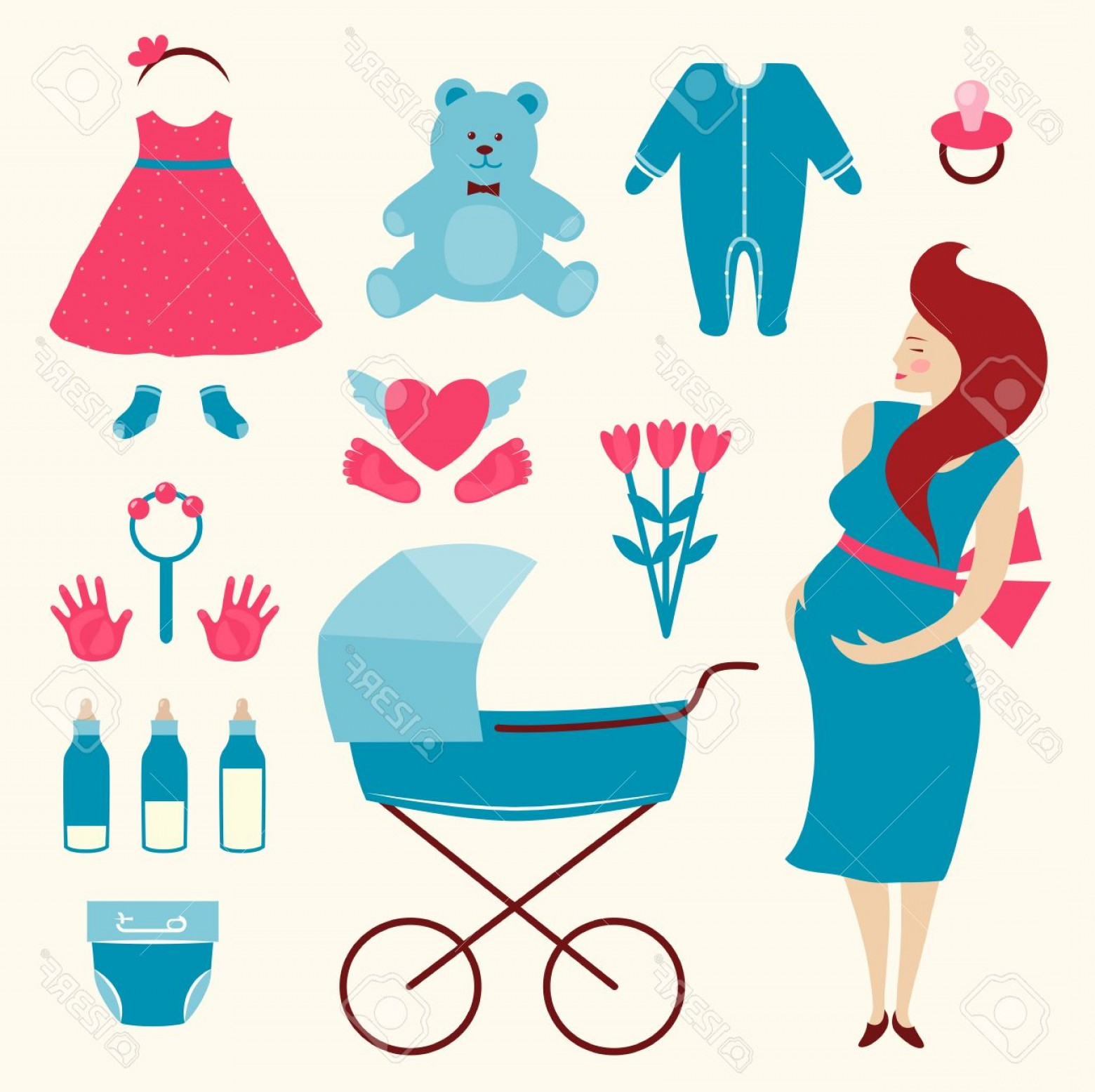Pregnant Vector Art: Photostock Vector Pregnant Young Woman And Baby Clothes Flat Simple Illustration Of Pregnant Woman