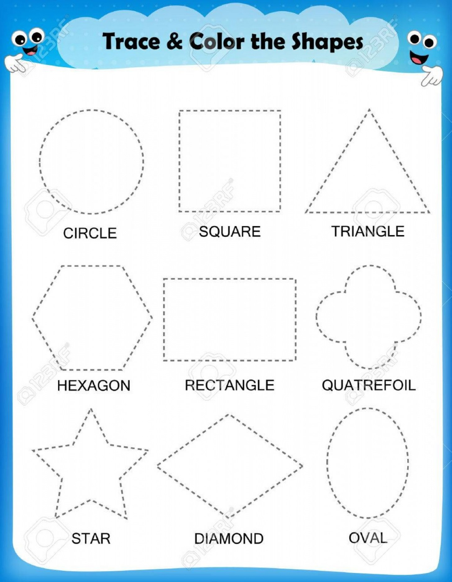 Mosquito Vector Worksheet: Photostock Vector Preschool Worksheet Trace The Shapes And Color Basic Writing And Coloring Practice