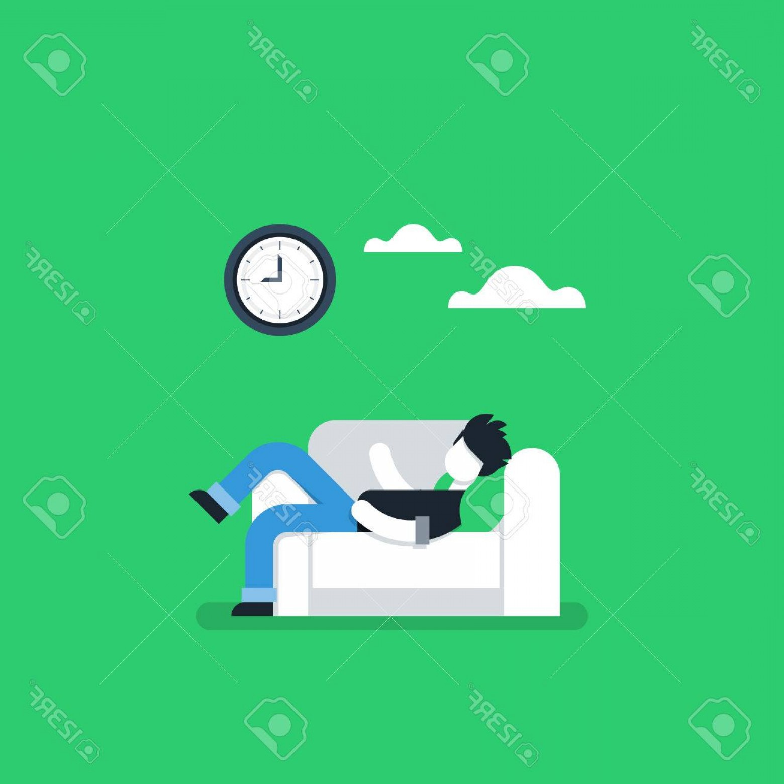 Back Of The Couch Vector: Photostock Vector Procrastination Concept Lazy Man On Sofa Couch Potato Tired Person Lying Down On Back Passive Time S