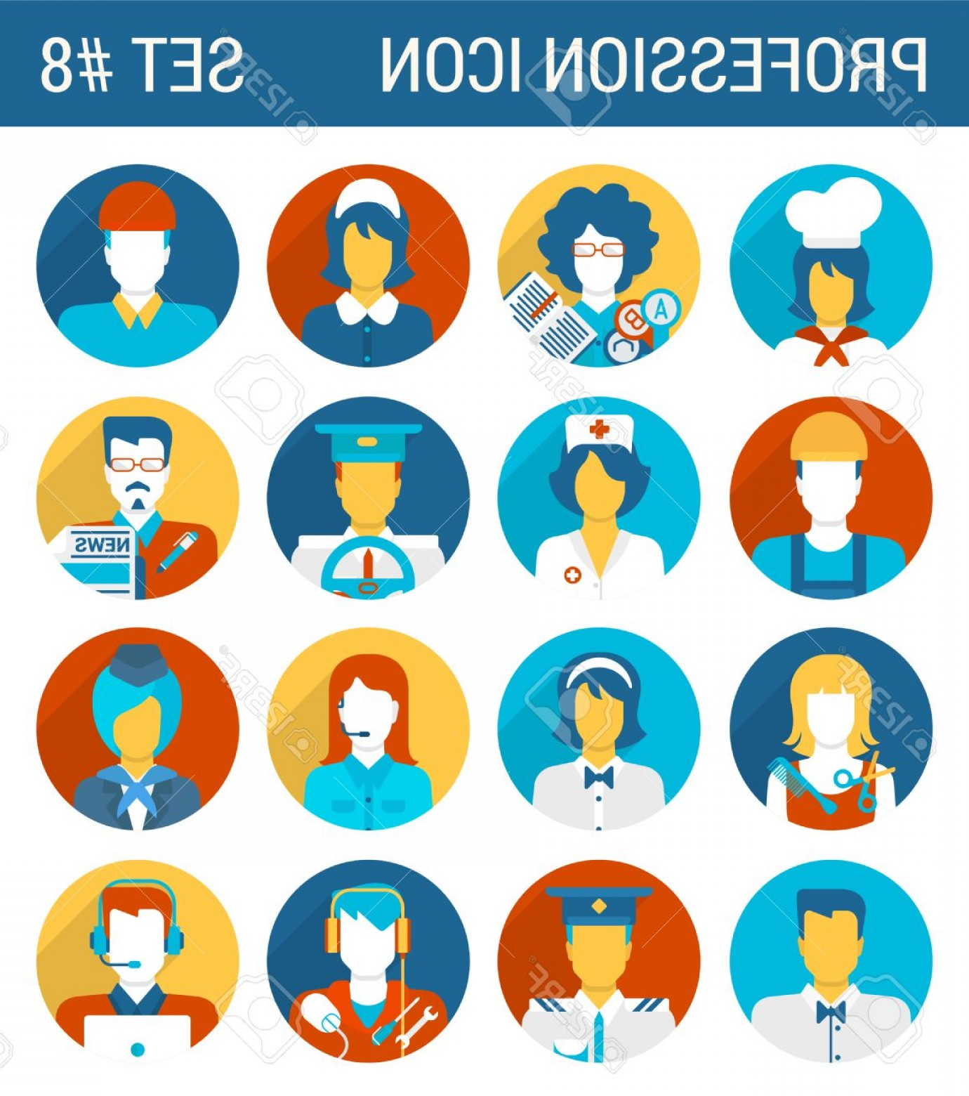 Support Staff Vector: Photostock Vector Professions Flat Icons Set Cook Teacher Governess Builder Doctor Nurse Driver Journalist Hairdresser