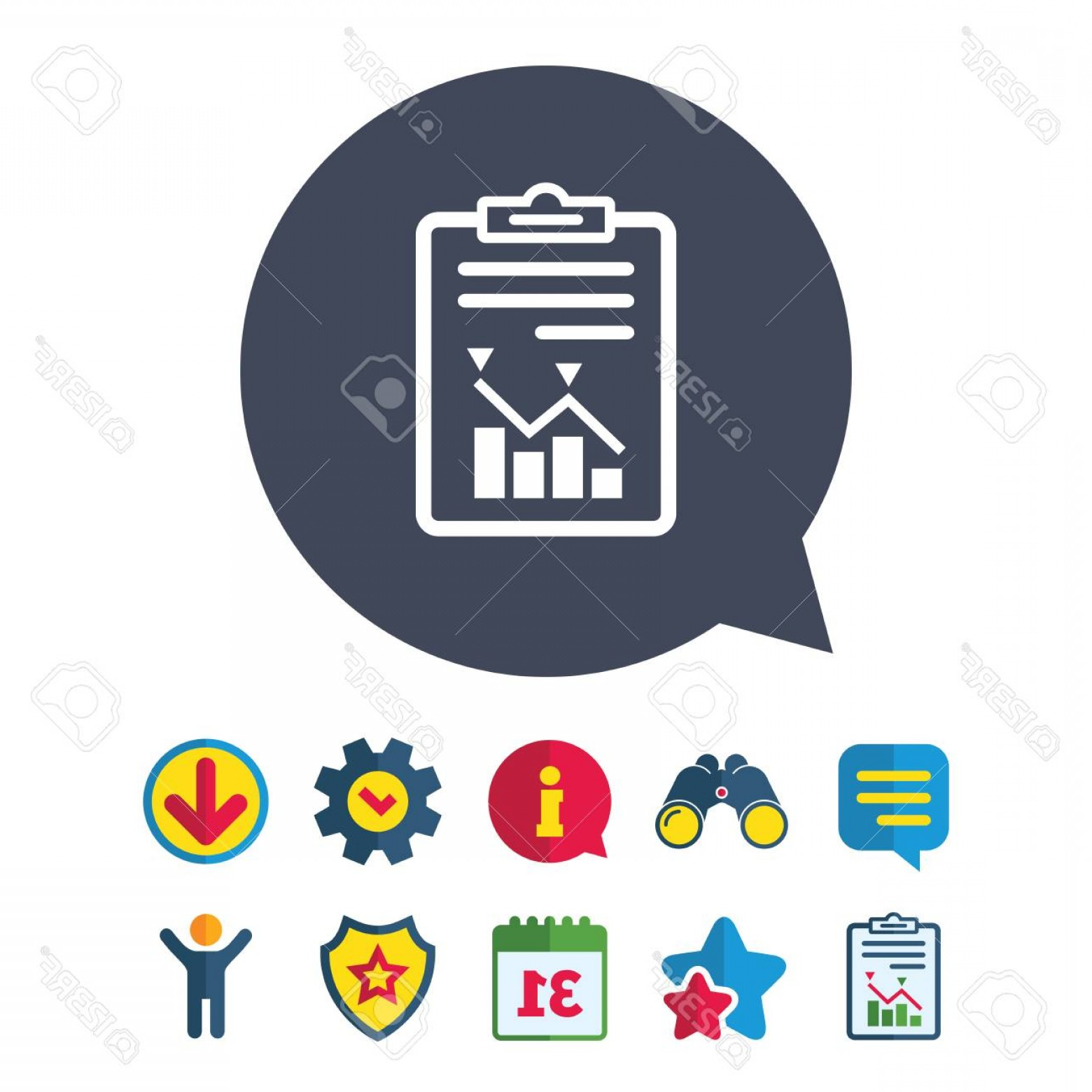 Art Project Icon Vector: Photostock Vector Project Management Icon Report Document Symbol Accounting File With Charts Symbol Information Report