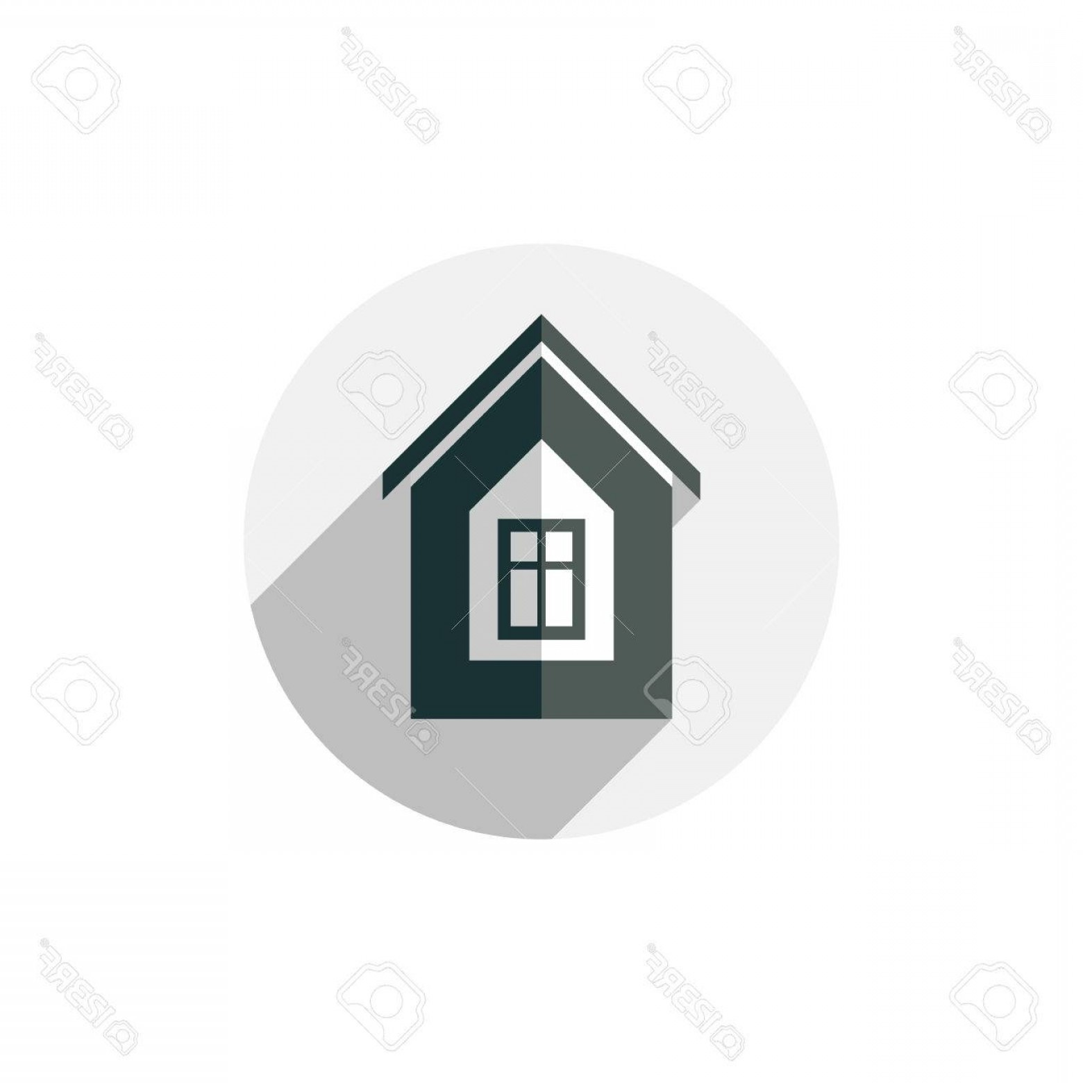 Vector House Sign: Photostock Vector Property Symbol Vector House Constructed With Bricks Real Estate Agency Theme Round Sign With Home I