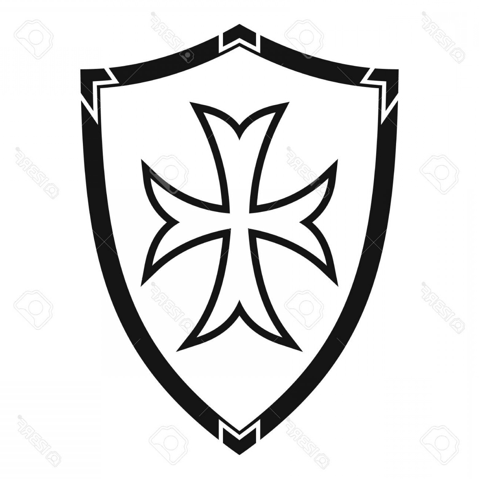 White Shield Vector: Photostock Vector Protective Shield Icon Simple Illustration Of Protective Shield Vector Icon For Web