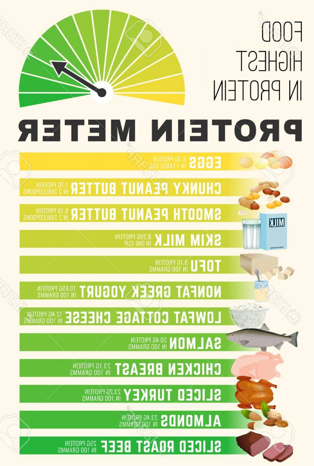 Lean Cup Vector: Photostock Vector Protein Meter High Protein Foods Concept Vertical Poster With Lean Beef Chicken Fish Eggs Dairy Prod