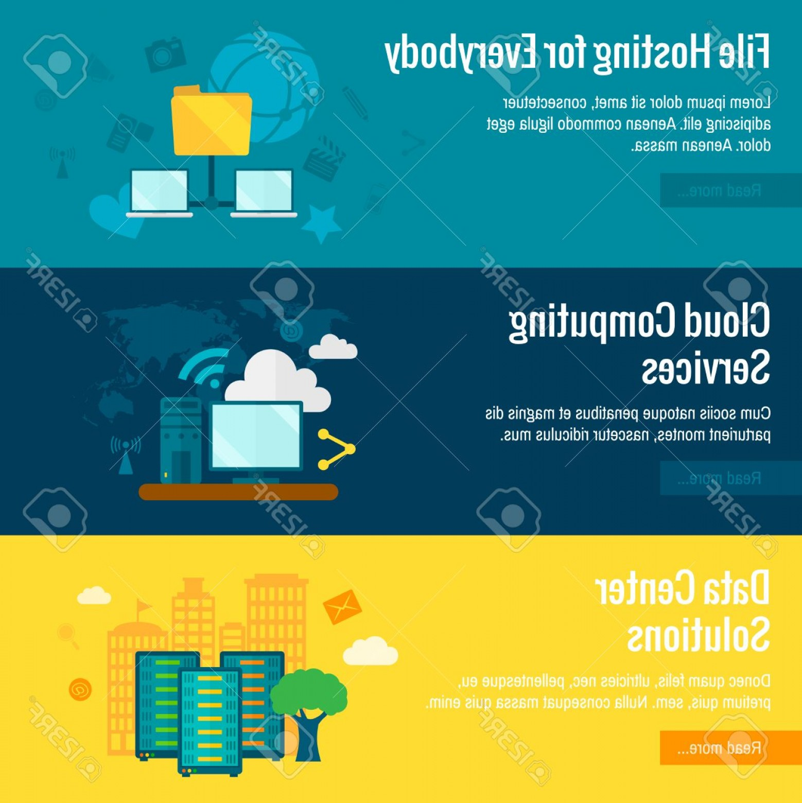 Vector Data Exchange: Photostock Vector Public Cloud Protected Data Exchange Environment File Hosting Service Flat Horizontal Banners Set Ab