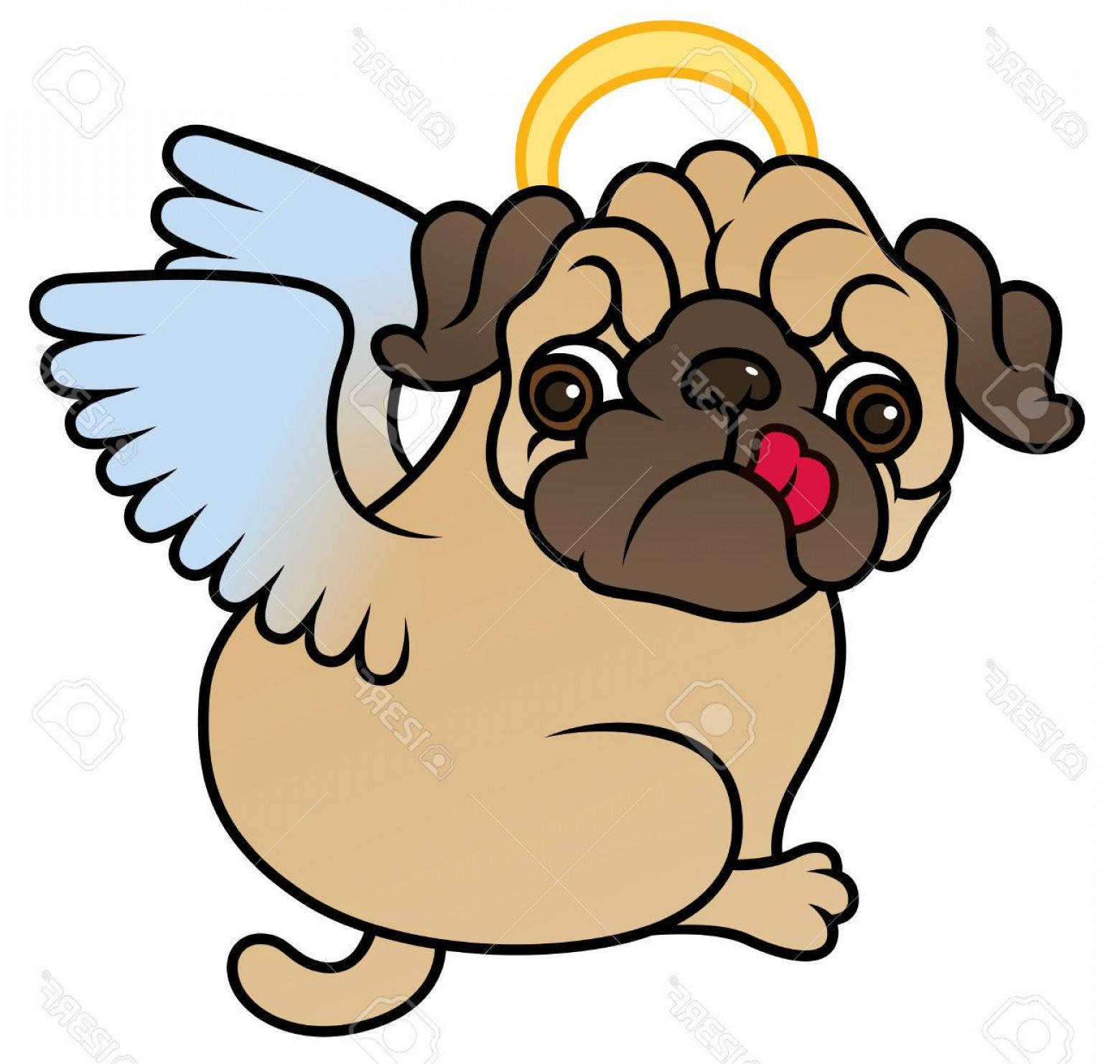 Vector Of Angel Art Dog: Photostock Vector Pug Cute Puppy With Angel Wings Vector Cartoon Illustration Pug Dog Isolated On White Background