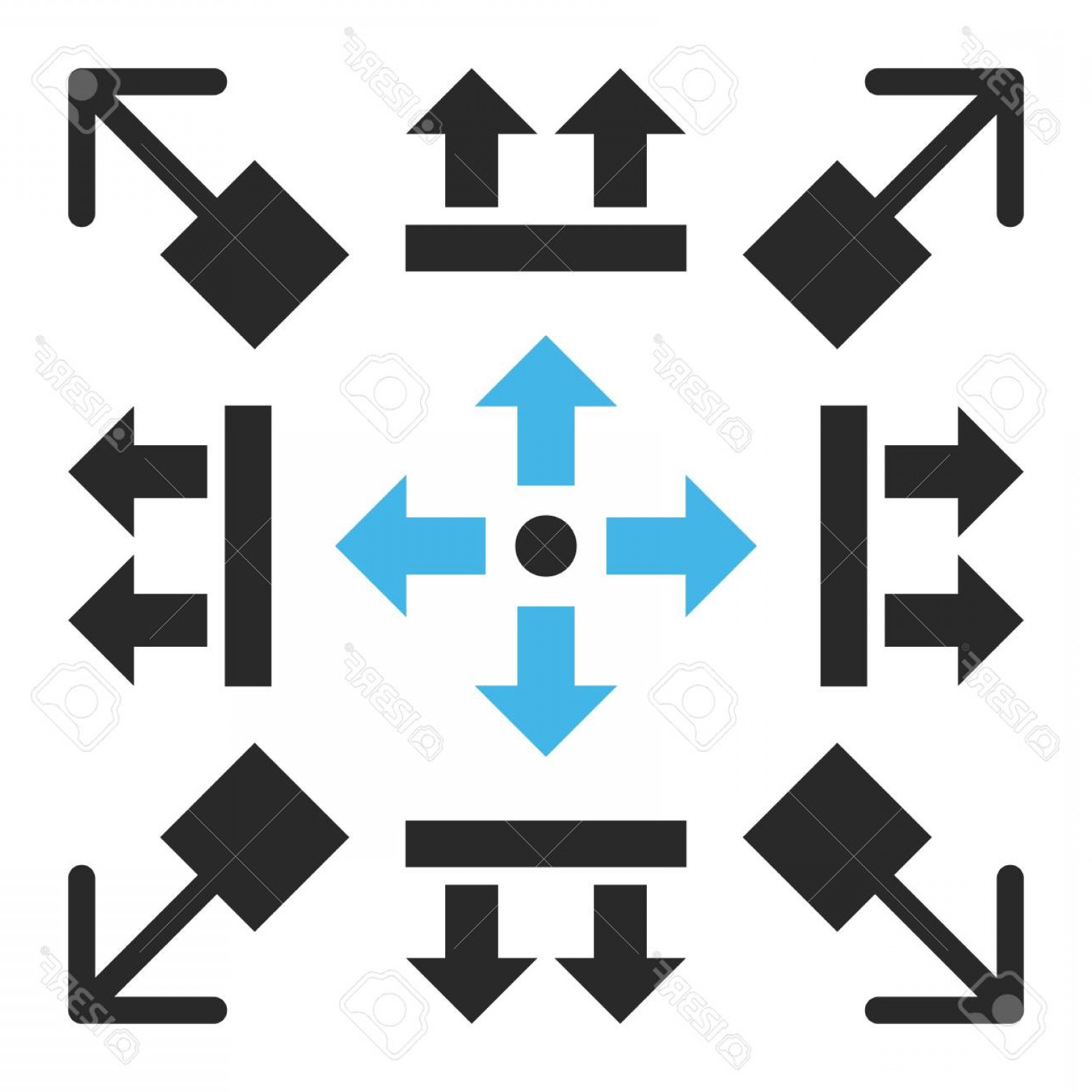 Gray Arrows Vector Art Graphics: Photostock Vector Pull Arrows Vector Icon Set Collection Style Is Bicolor Blue And Gray Flat Symbols On A White Backgr