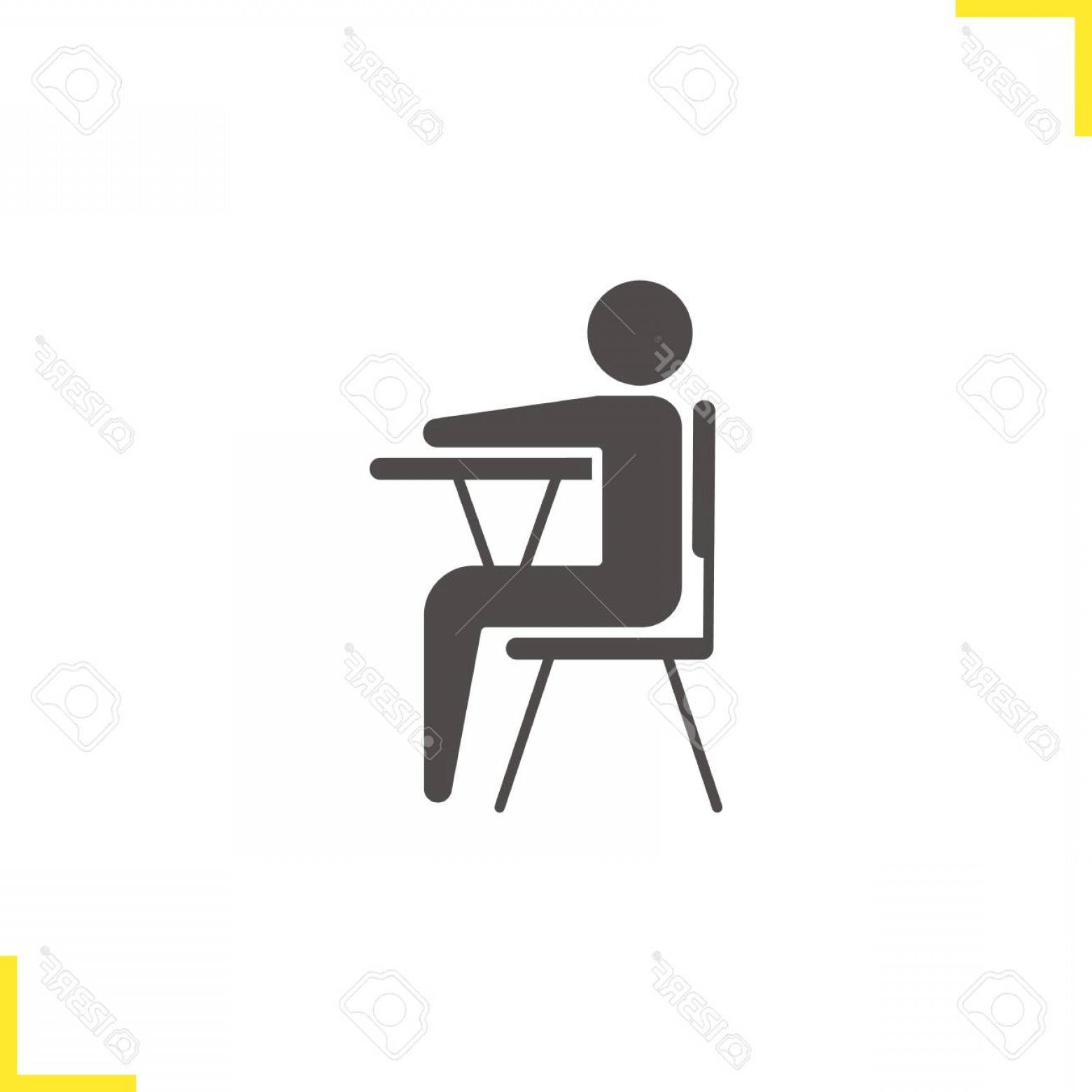 Student Desk Icon Vector: Photostock Vector Pupil Glyph Icon Silhouette Symbol School Student Sitting At Desk Negative Space Vector Isolated Ill