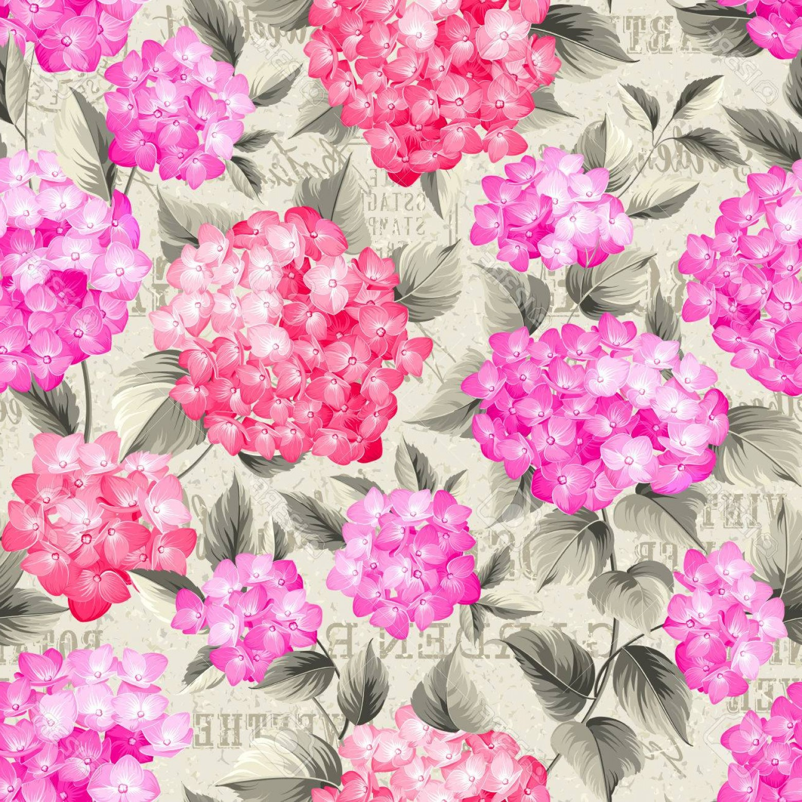 Hydrangea Vector Graphics: Photostock Vector Purple Flower Hydrangea On Seamless Background Mop Head Hydrangea Flower Pattern Beautiful Red Flowe