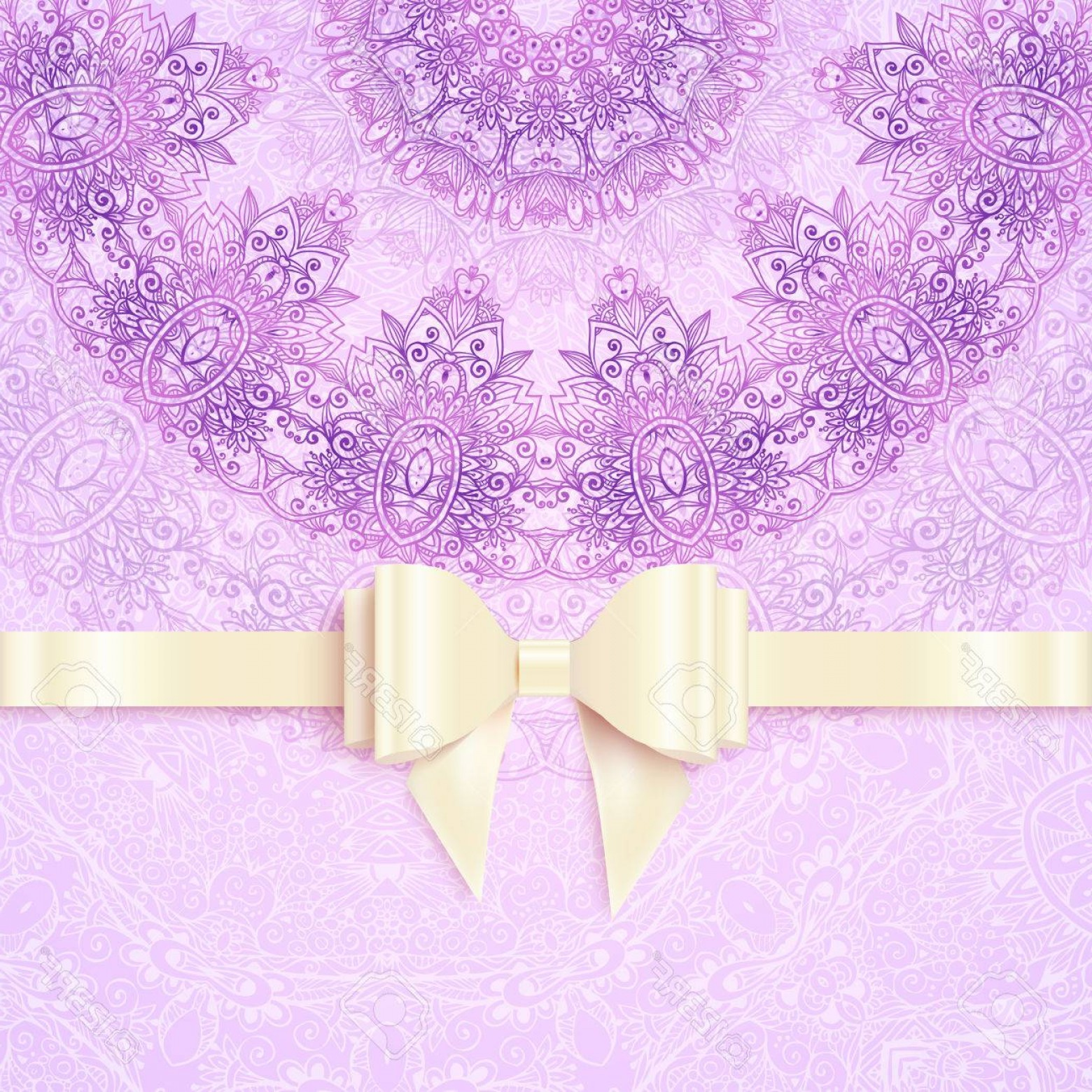 Lilac Wedding Vectors: Photostock Vector Purple Vintage Lacy Wedding Card Template