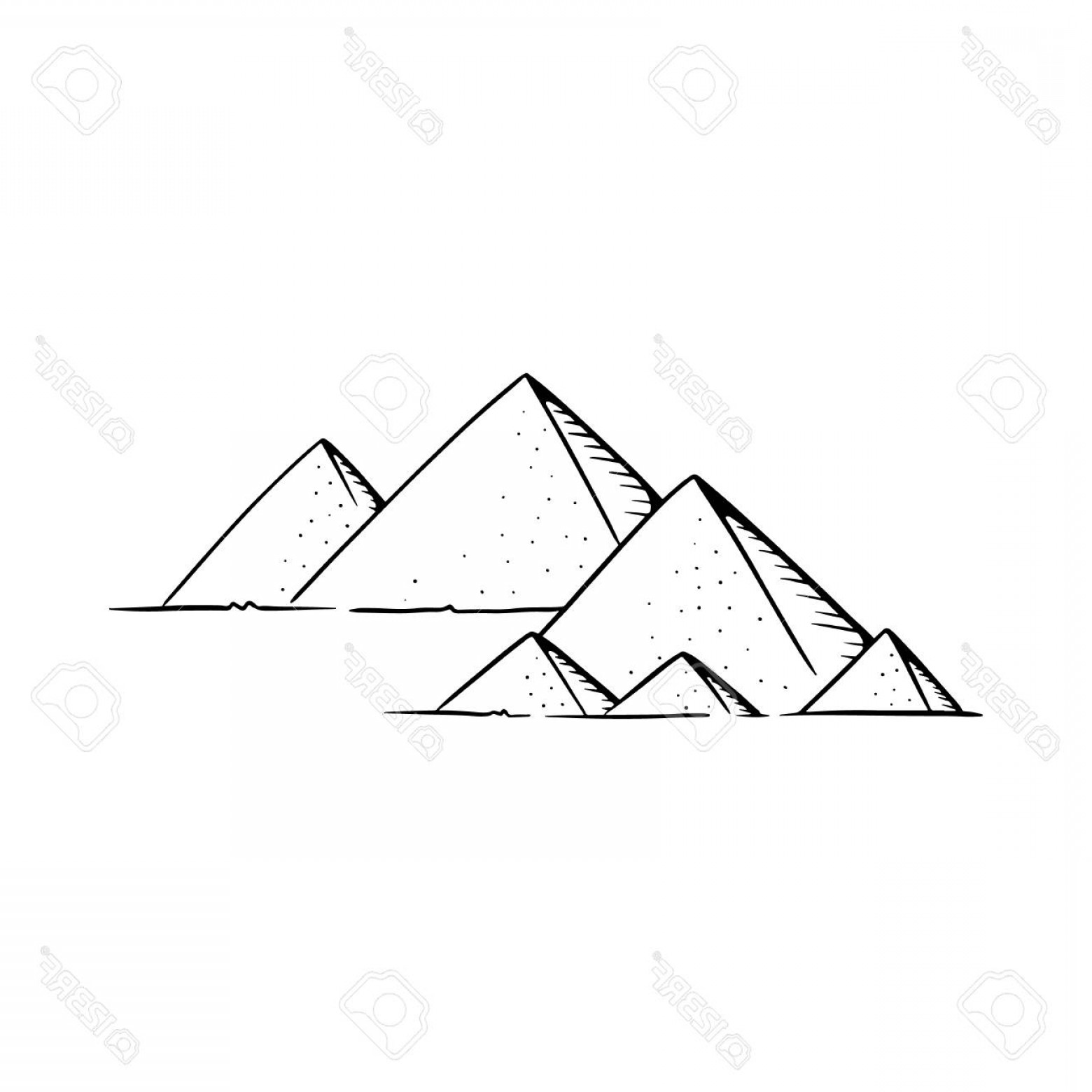 Piramids Vector Art: Photostock Vector Pyramids Vector Illustration Pyramids Line Drawing