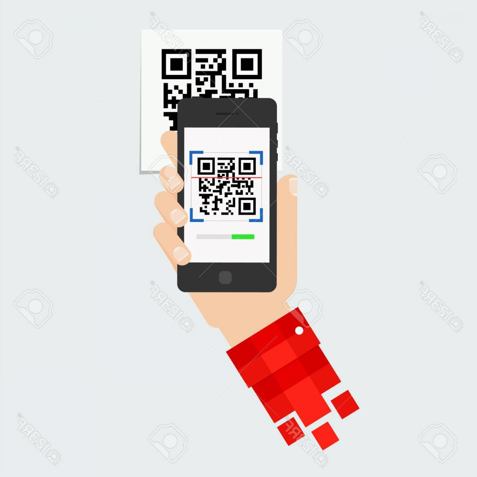 QR Mobile Phone Vector: Photostock Vector Qr Code Scanning Mobile Phone Capture Qr Code On Mobile Phone Symbol Scanning Qr Code Concept Recogn