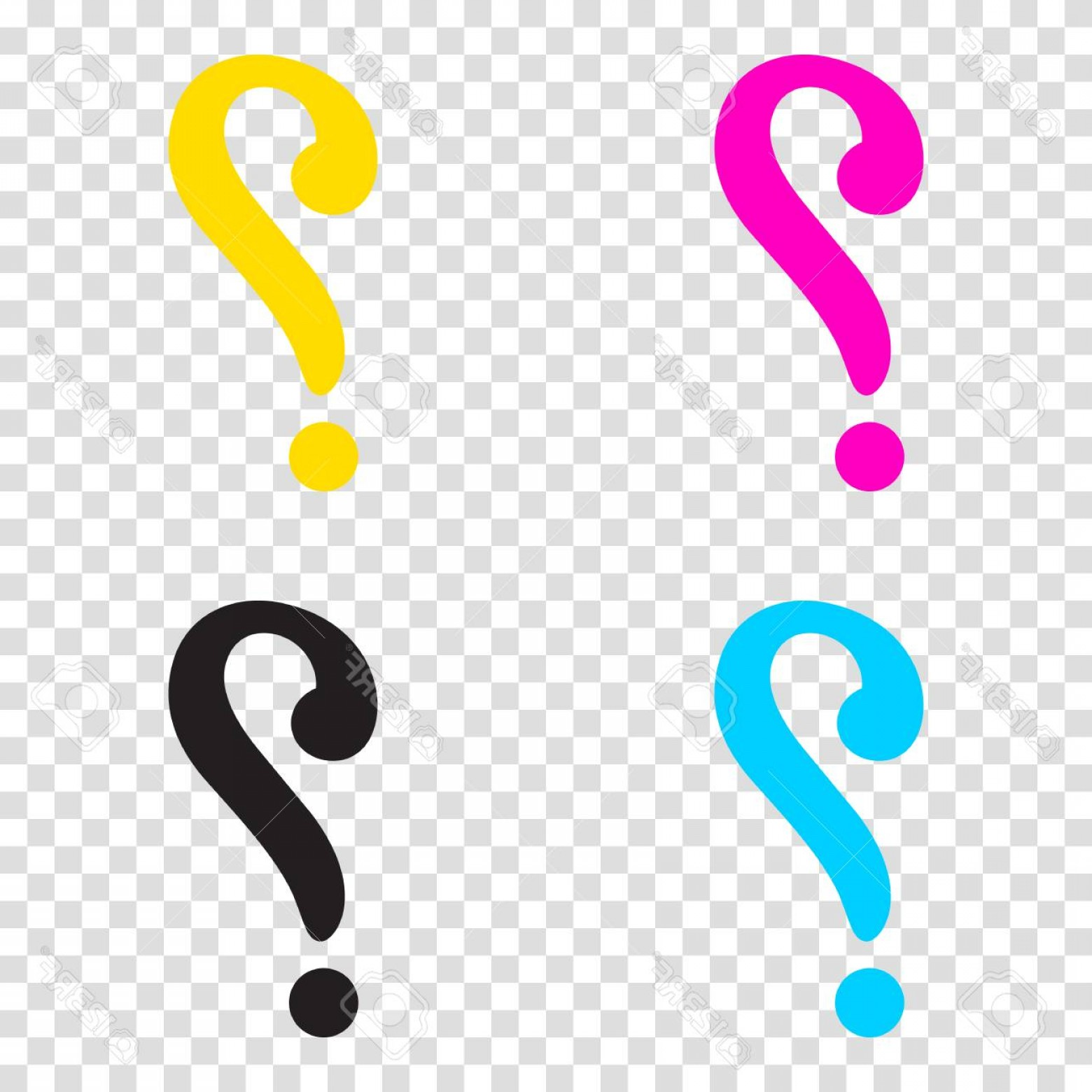 Photostock Vector Question Mark Sign Cmyk Icons On Transparent Background Cyan Magenta Yellow Key Black