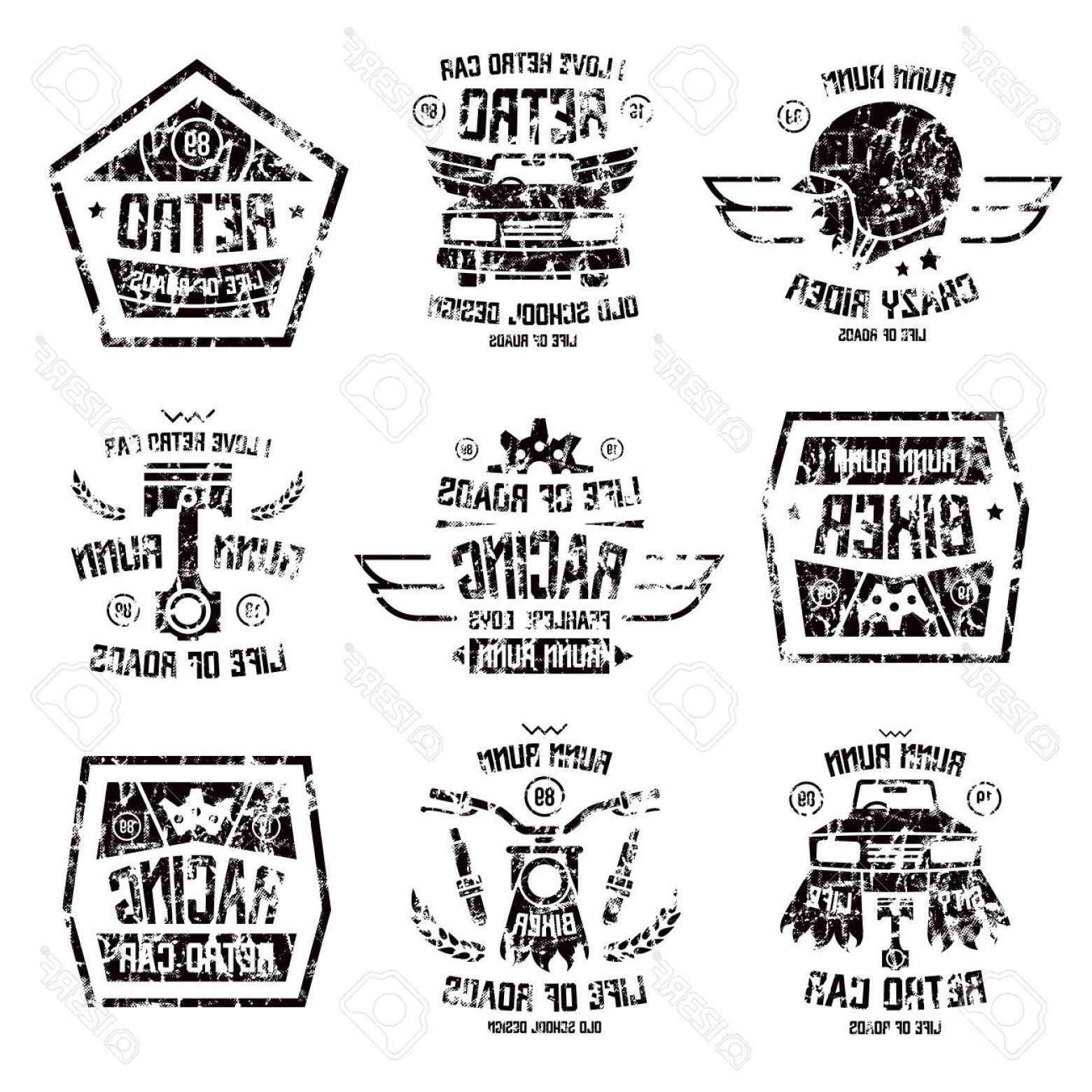Black And White Vector Racing Graphics: Photostock Vector Racing Badges In Retro Style With Shabby Texture Graphic Design For T Shirt Black Print On White Bac