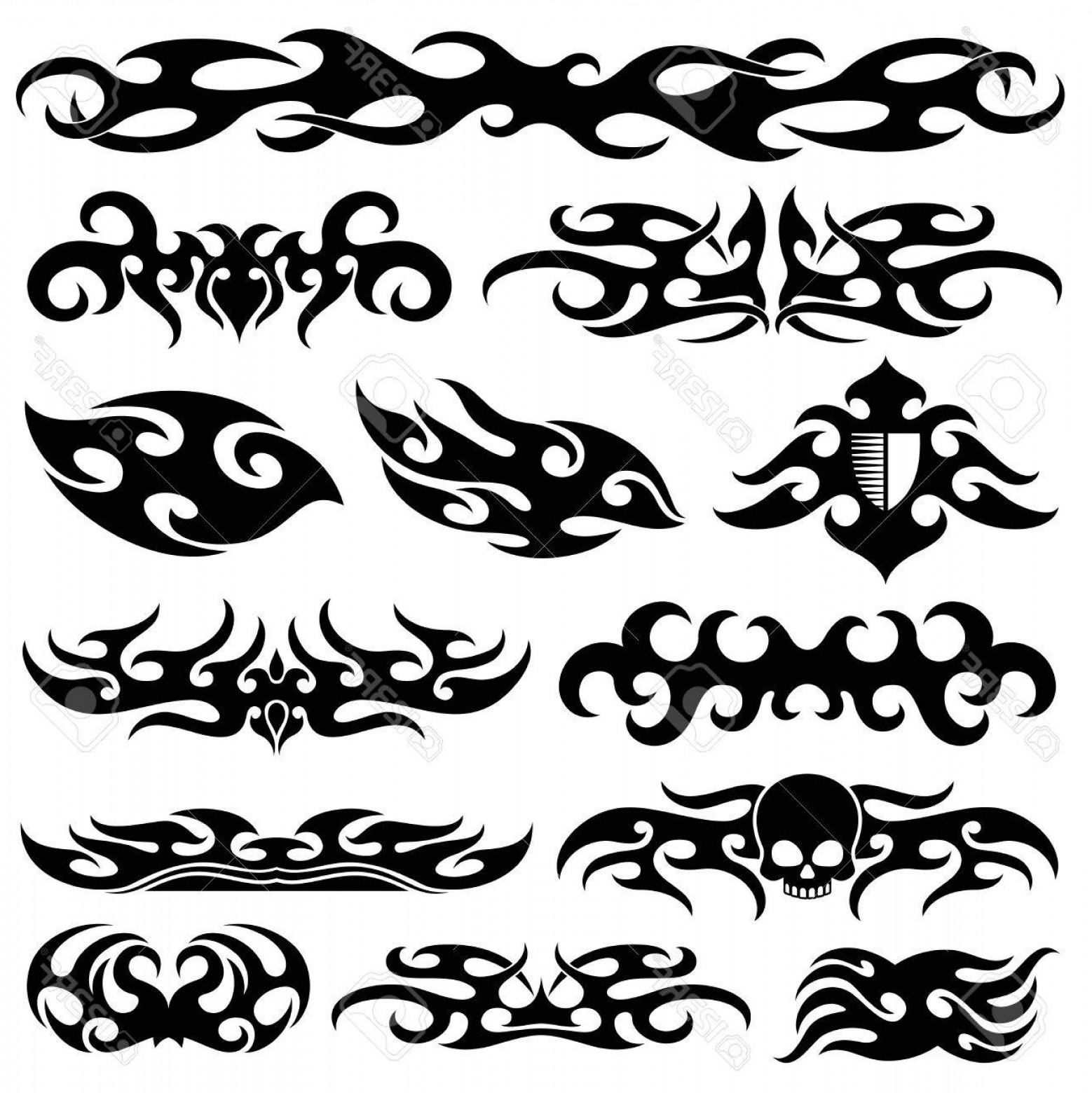 Black And White Vector Racing Graphics: Photostock Vector Racing Car Vinyl Decoration Motorbike Decals And Vehicle Vector Design Black Artistic Pattern Tattoo