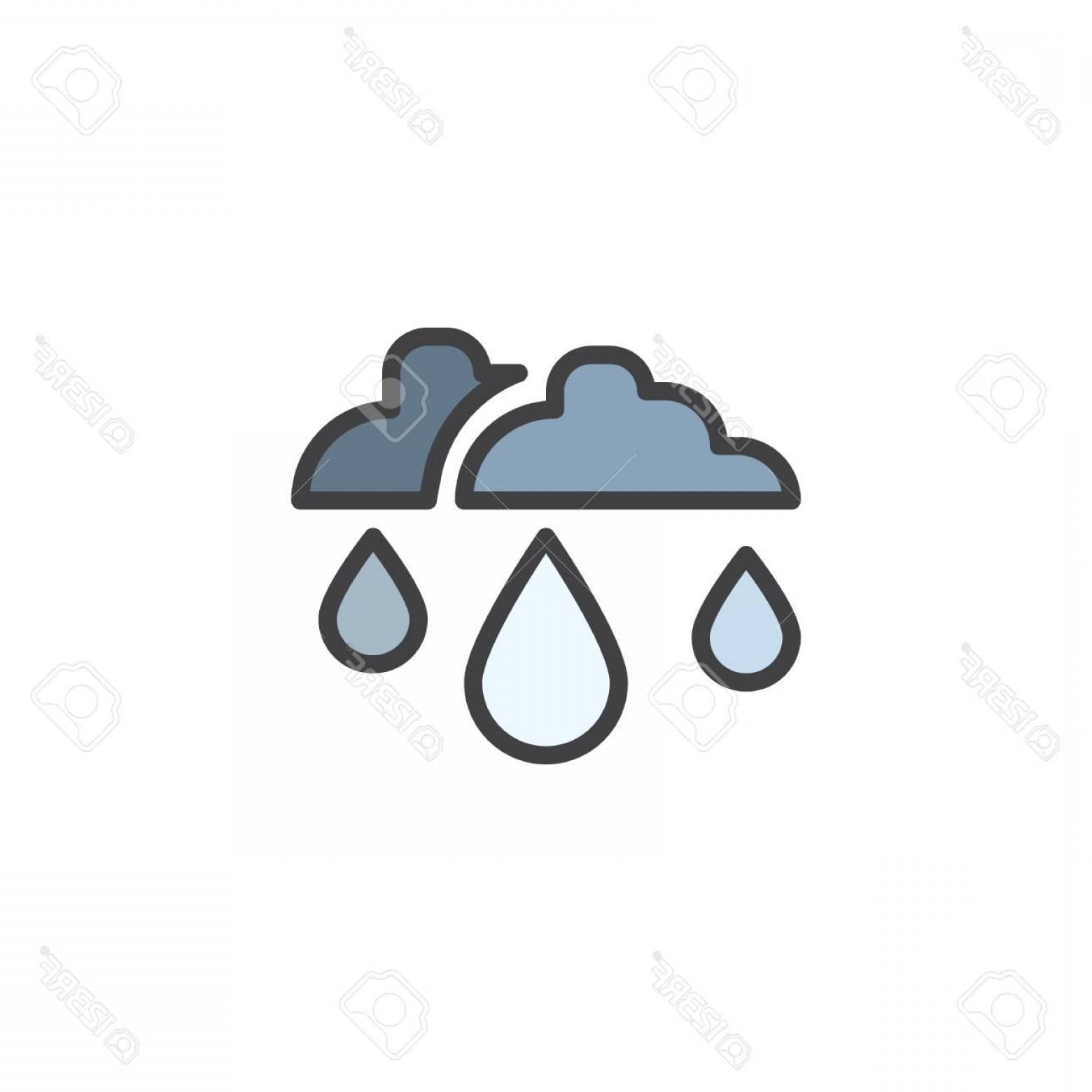 Snow Cone Outline Vector: Photostock Vector Rain Drop And Clouds Filled Outline Icon