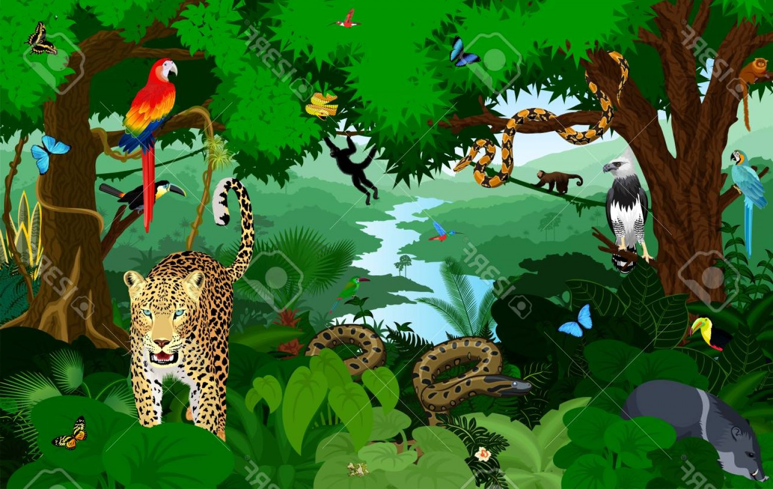 Vector Rainforest Anaconda: Photostock Vector Rainforest With Animals Vector Illustration Vector Green Tropical Forest Jungle With Parrots Jaguar
