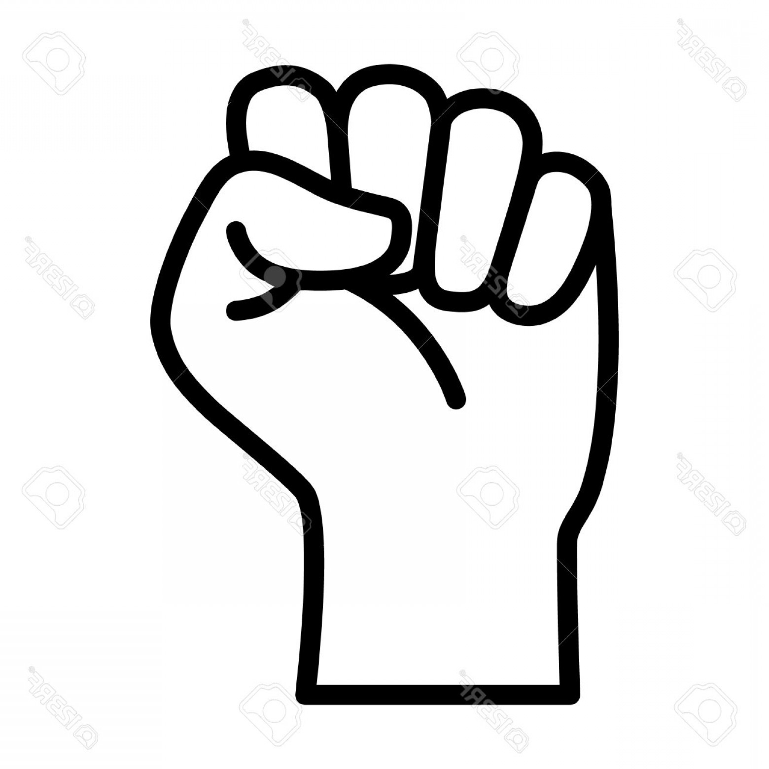 Black Power Fist Vector: Photostock Vector Raised Fist Symbol Of Victory Strength Power And Solidarity Line Art Icon For Apps And Websites