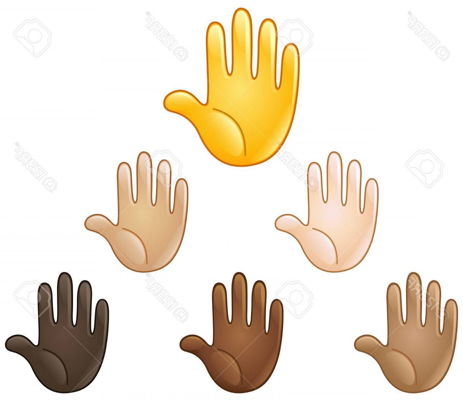 Emoji Fist Bump Vector Graphic: Photostock Vector Raised Hand Emoji Of Various Skin Tones Stop Or High Five Sign