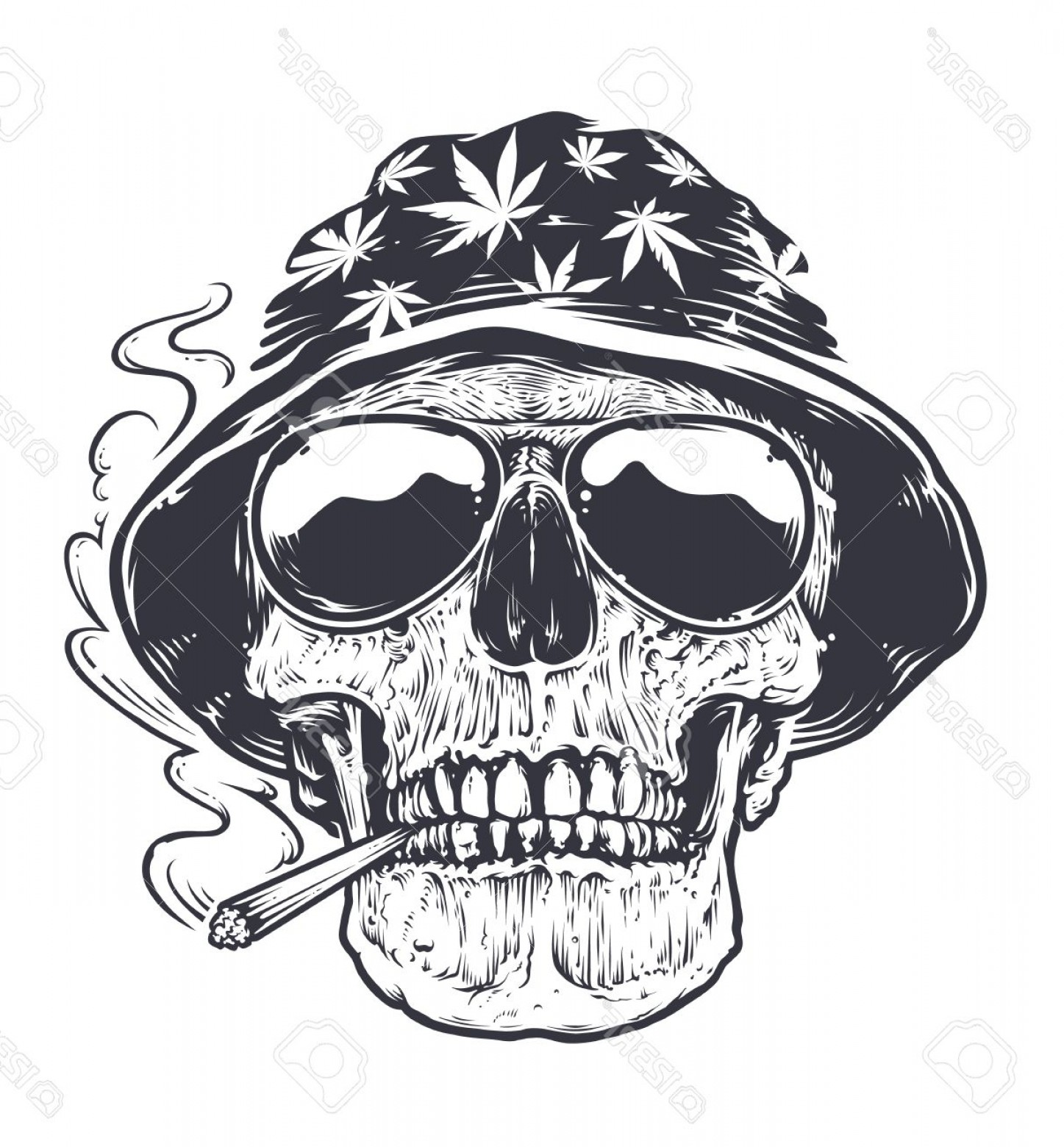 Cool Skull Vector: Photostock Vector Rastaman Skull Vector Art Skull In Hat With Cannabis Leafs And In Suglasses Holds Smoking Joint In H