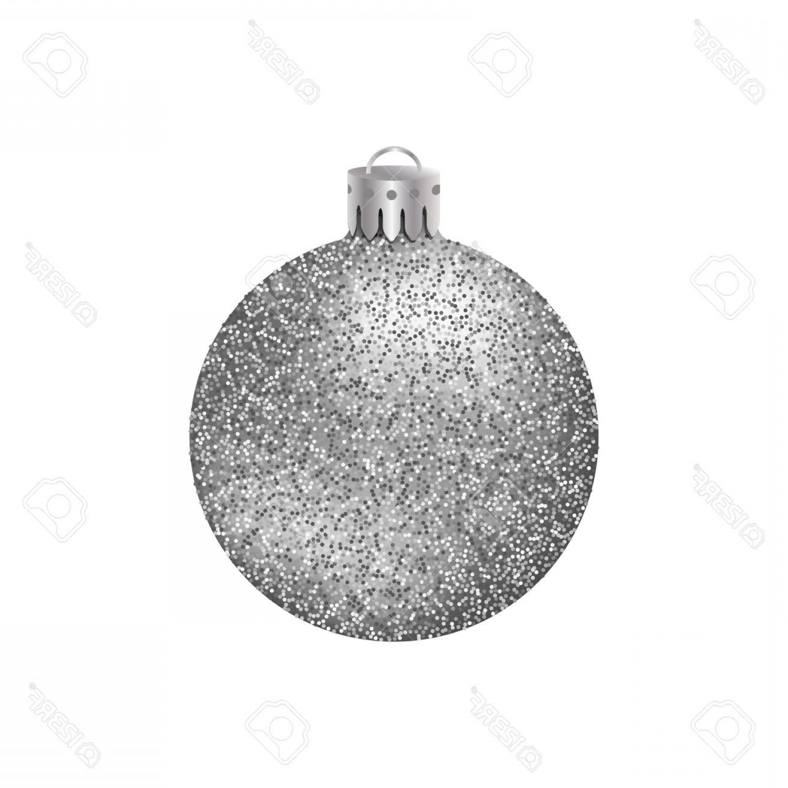 3 Glass Christmas Bulb Vector: Photostock Vector Realistic Silver Christmas Ball Or Bauble With Glitter Texture Isolated On White Background