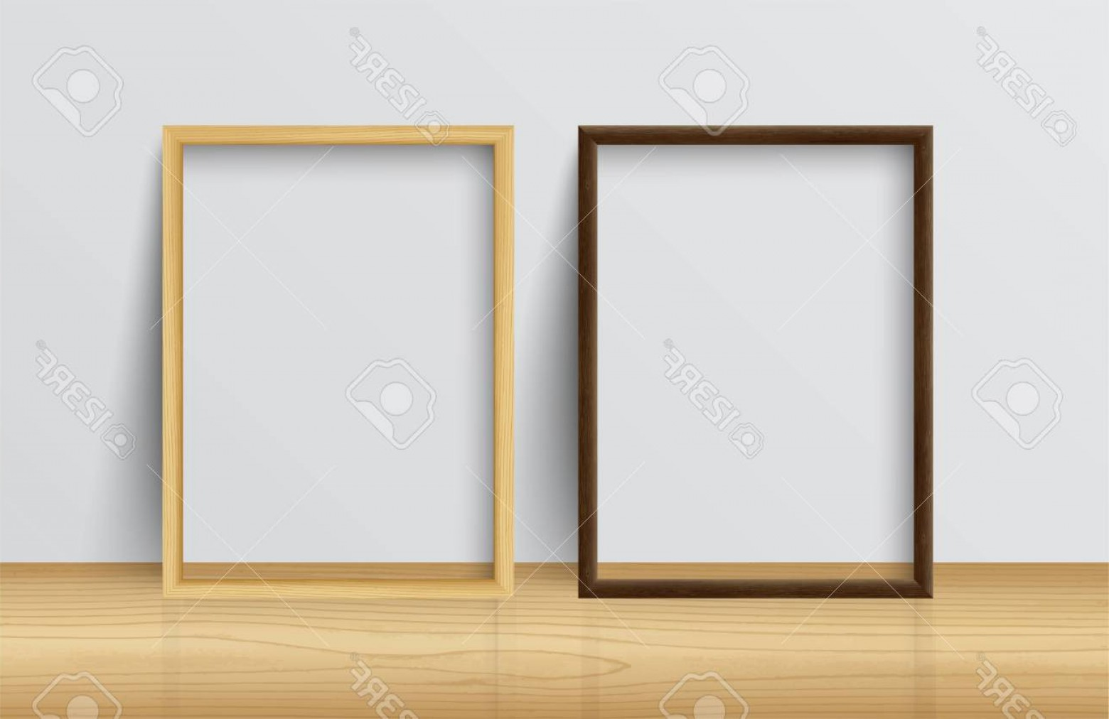 Vector Black Wood Floor: Photostock Vector Realistic Square Light Wood And Dark Wood Blank Picture Frame Standing On Light Wood Floor Atwhite W