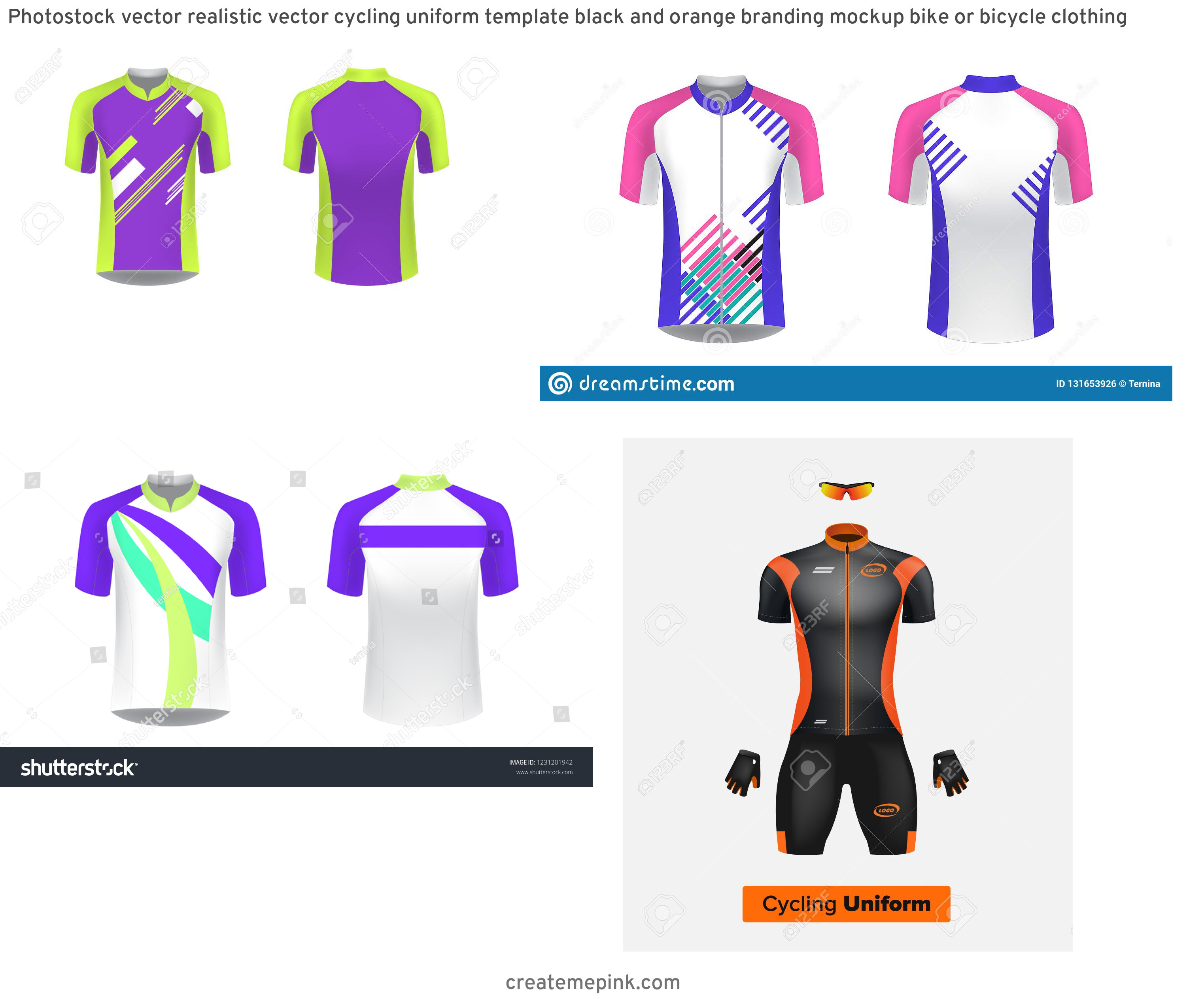 Cycling Kit Template Vector: Photostock Vector Realistic Vector Cycling Uniform Template Black And Orange Branding Mockup Bike Or Bicycle Clothing