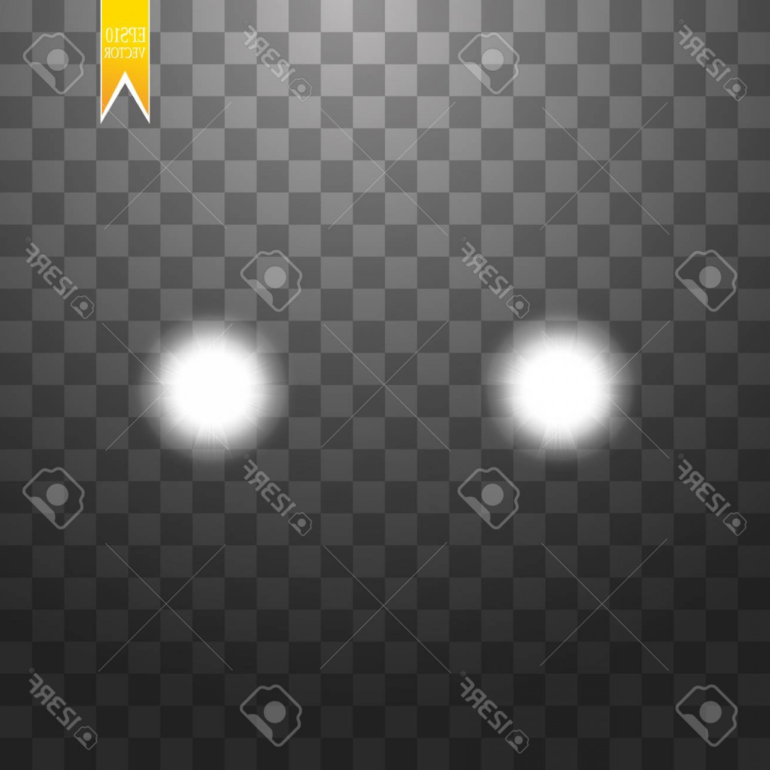 Vector Round Headlight: Photostock Vector Realistic White Glow Of Round Beams Of Car Headlights Isolated Against A Background Of Transparent G
