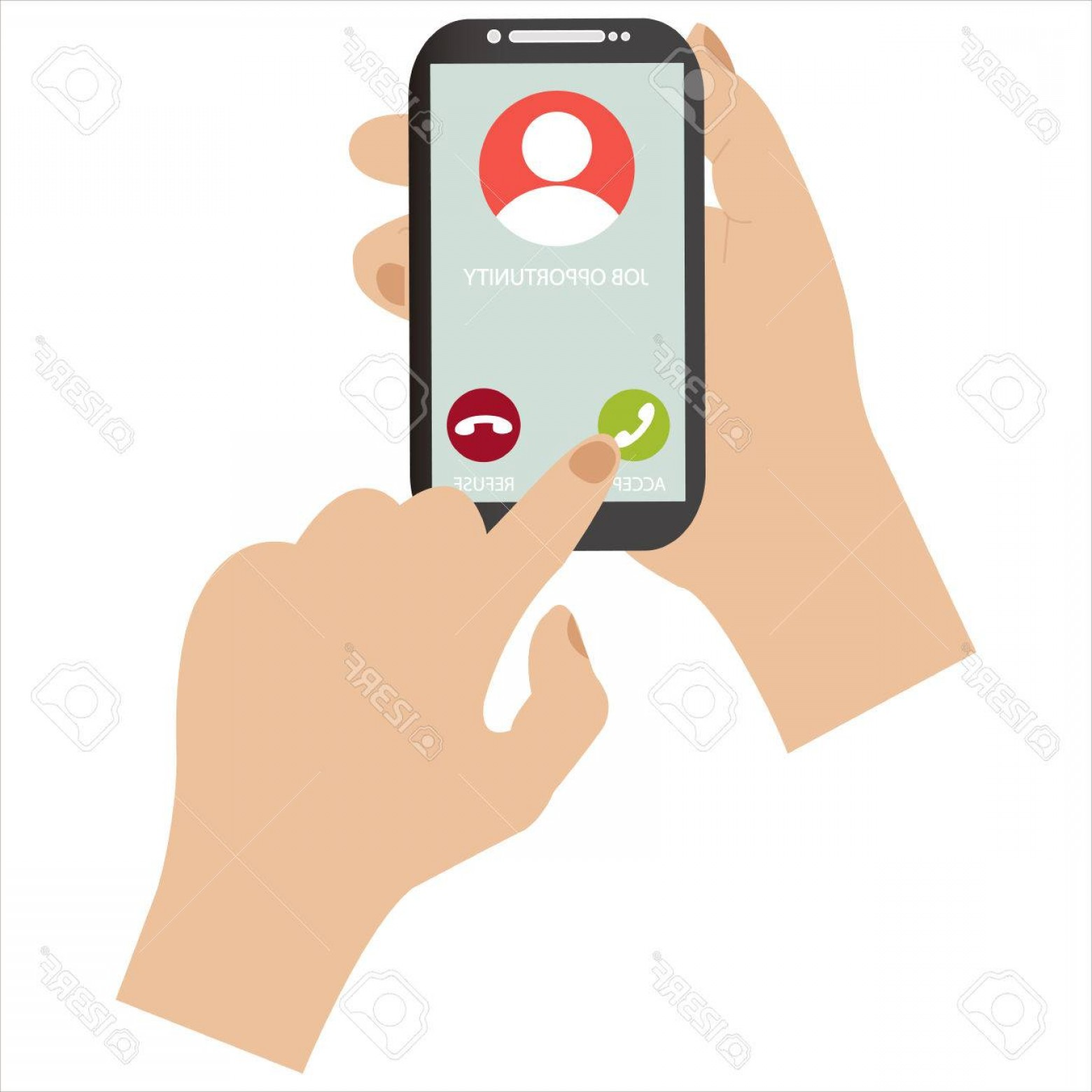 Vector Job Offer: Photostock Vector Receive A Job Offer Through A Phone Call