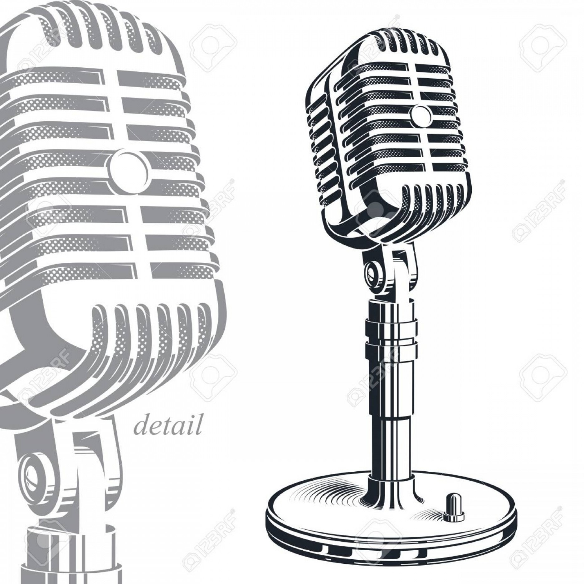 Microphone Recording Vector: Photostock Vector Recorder Microphone Vector Illustration Isolated On White Entertaining And Informational Show Studio