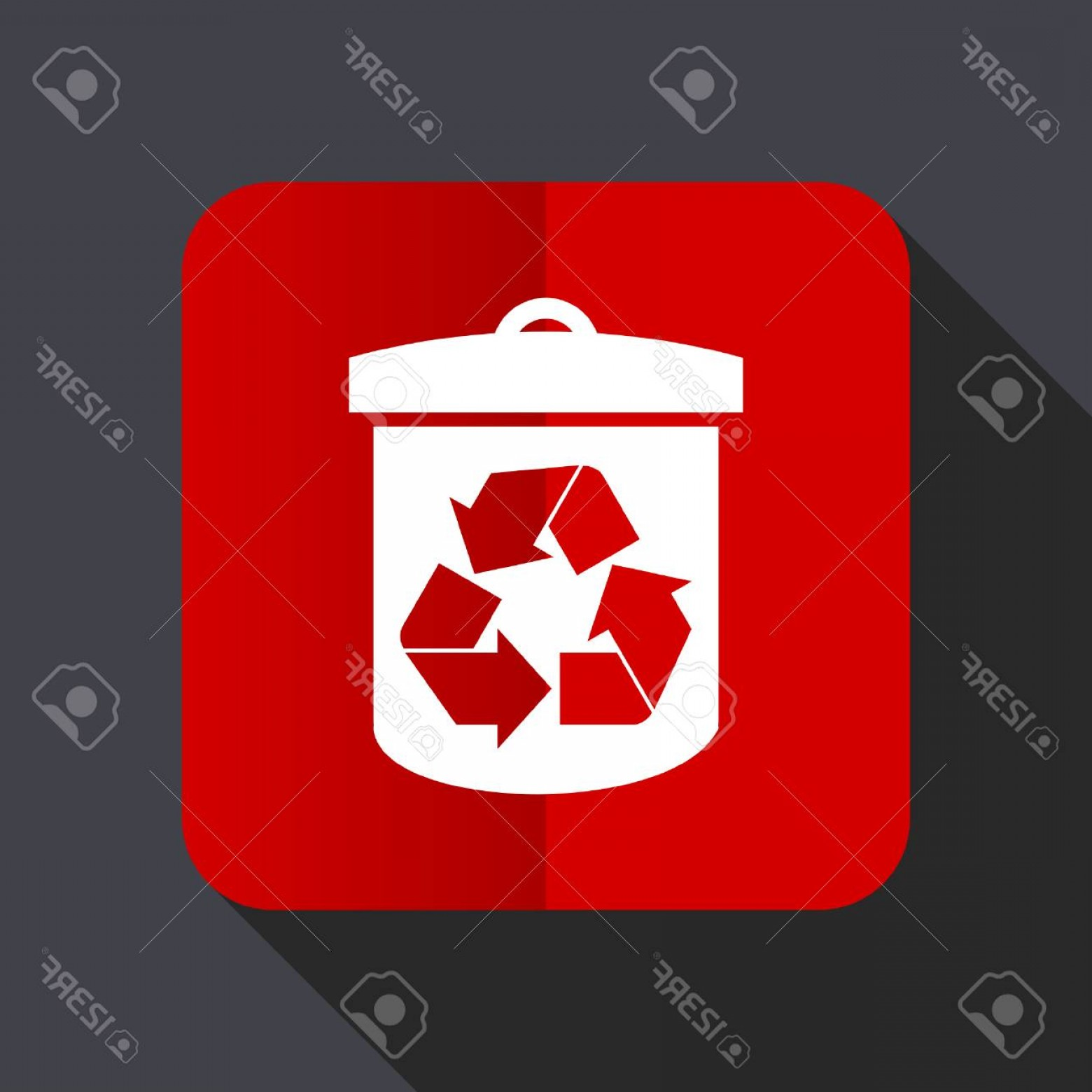 Recycle Icon Vector Red: Photostock Vector Recycle Flat Design Web Vector Red Icon